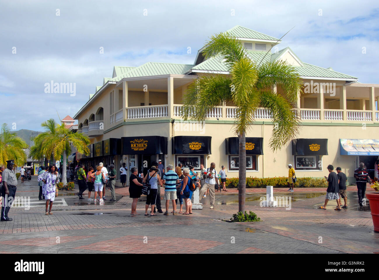 Shopping area port zante st kitts stock photo royalty free image 105585734 alamy for Port zante st kitts