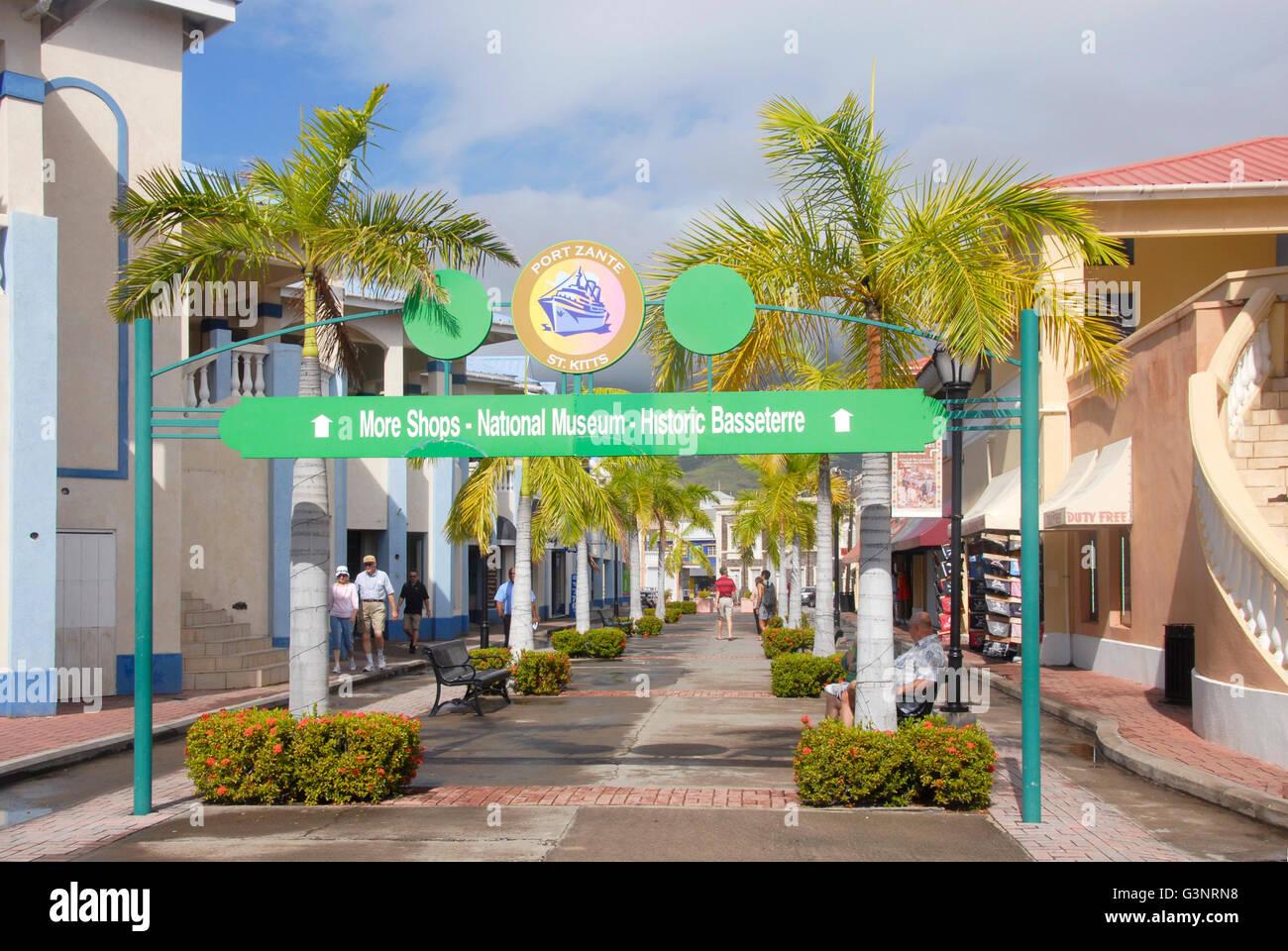 Shopping area port zante st kitts caribbean stock photo for Port zante st kitts