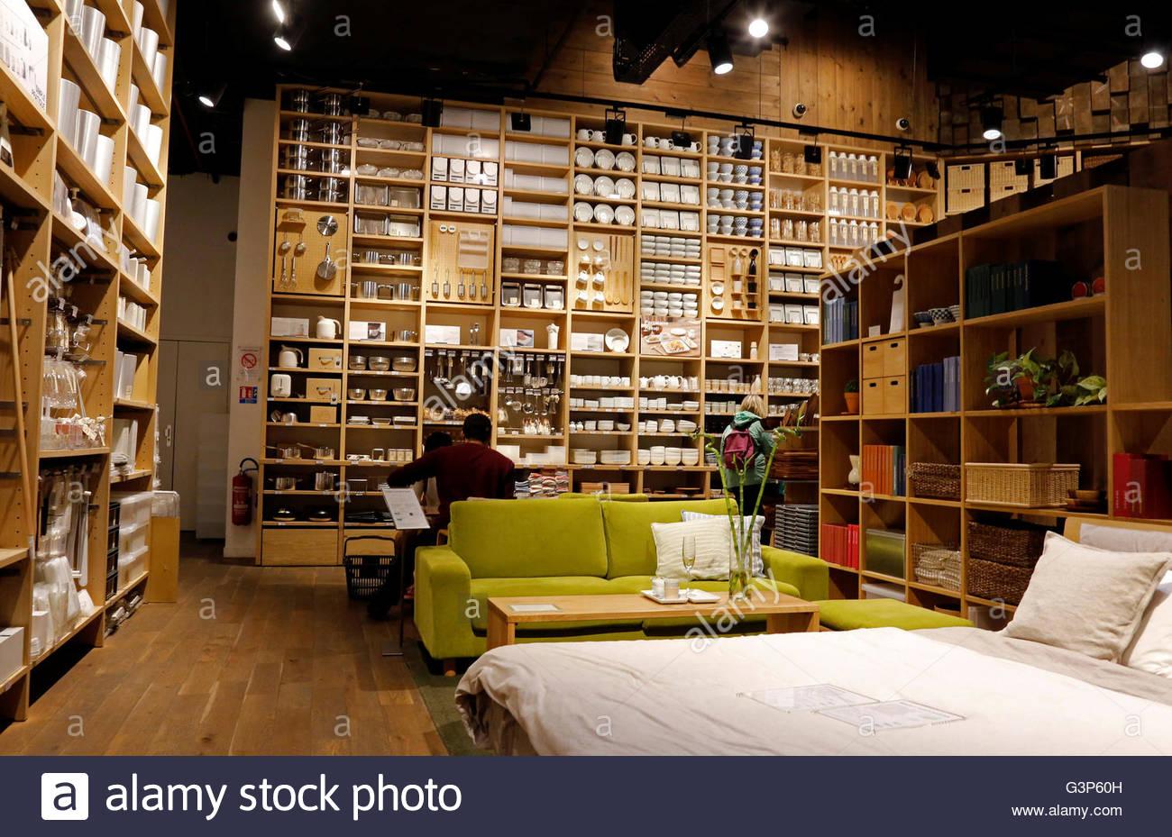 View Inside A Japanese Furniture Muji Store In Paris France June