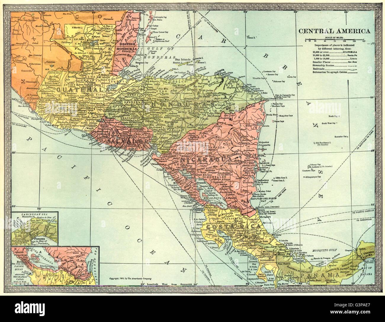 CENTRAL AMERICA British Honduras Panama Nicaragua Canal Guatemala - Nicaragua map honduras