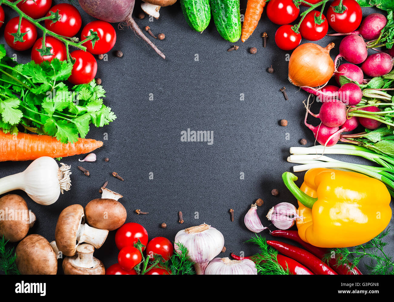 Food background studio photo of different fruits and vegetables - Beautiful Background Healthy Organic Eating Studio Photography The Frame Of Different Vegetables And Mushrooms Stock