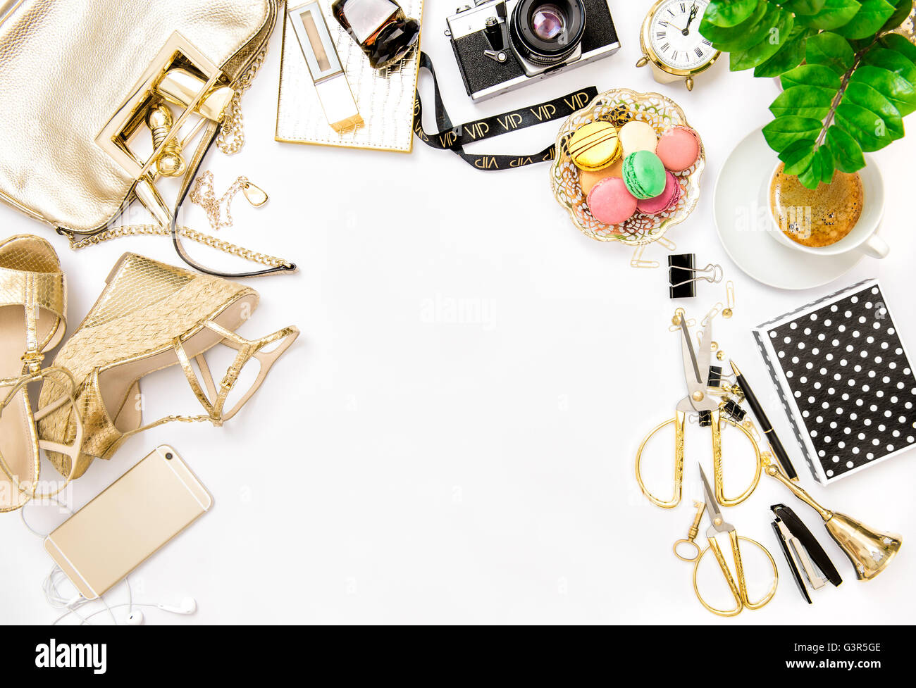 Fashion Flat Lay For Bloggers Social Media. Feminine Accessories, Bag,  Shoes, Office Supplies, Vintage No Name Photo Camera And