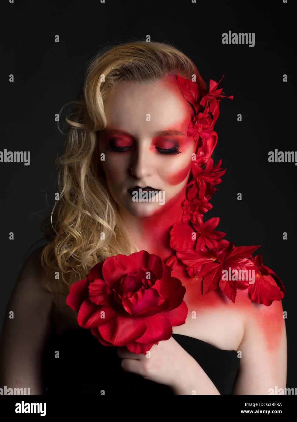 Gothic Fashion Fantasy Blonde English Rose Beauty