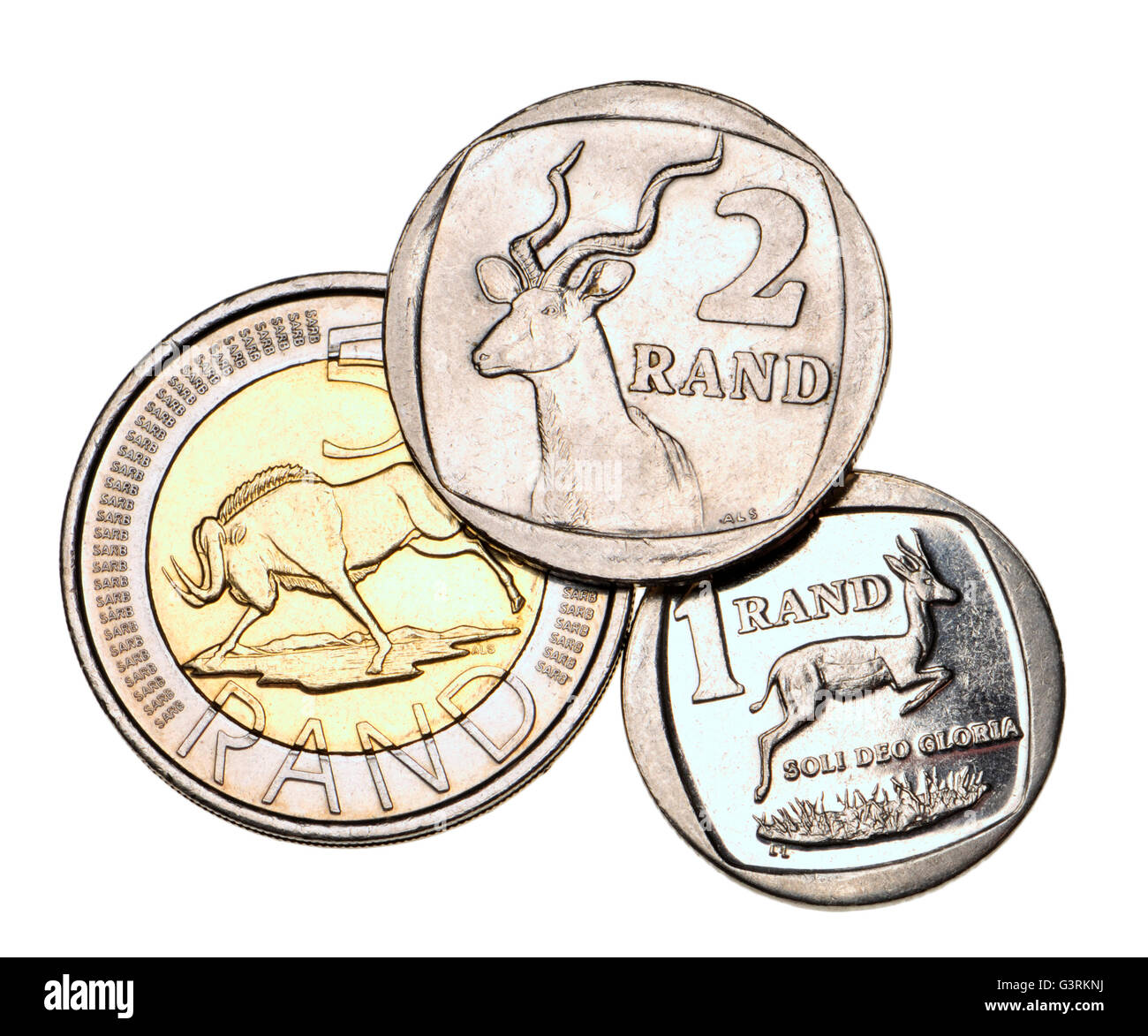 South African 1, 2 and 5 Rand coins Stock Photo, Royalty ...