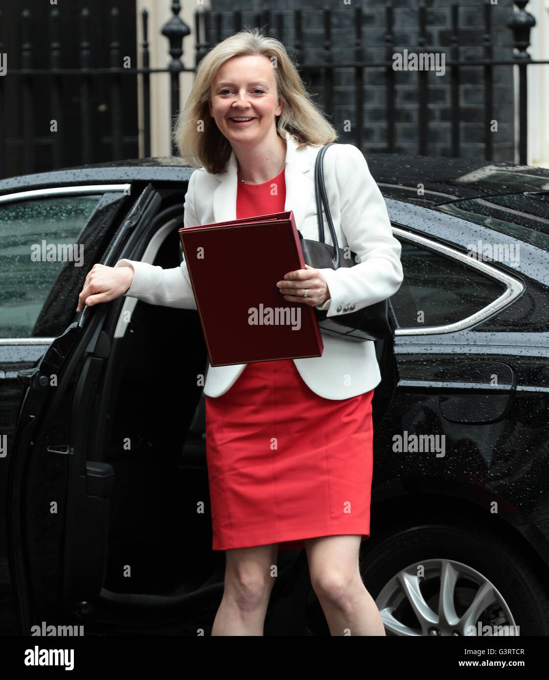 LONDON - JUN 14, 2016: Liz Truss arriving in Downing ...