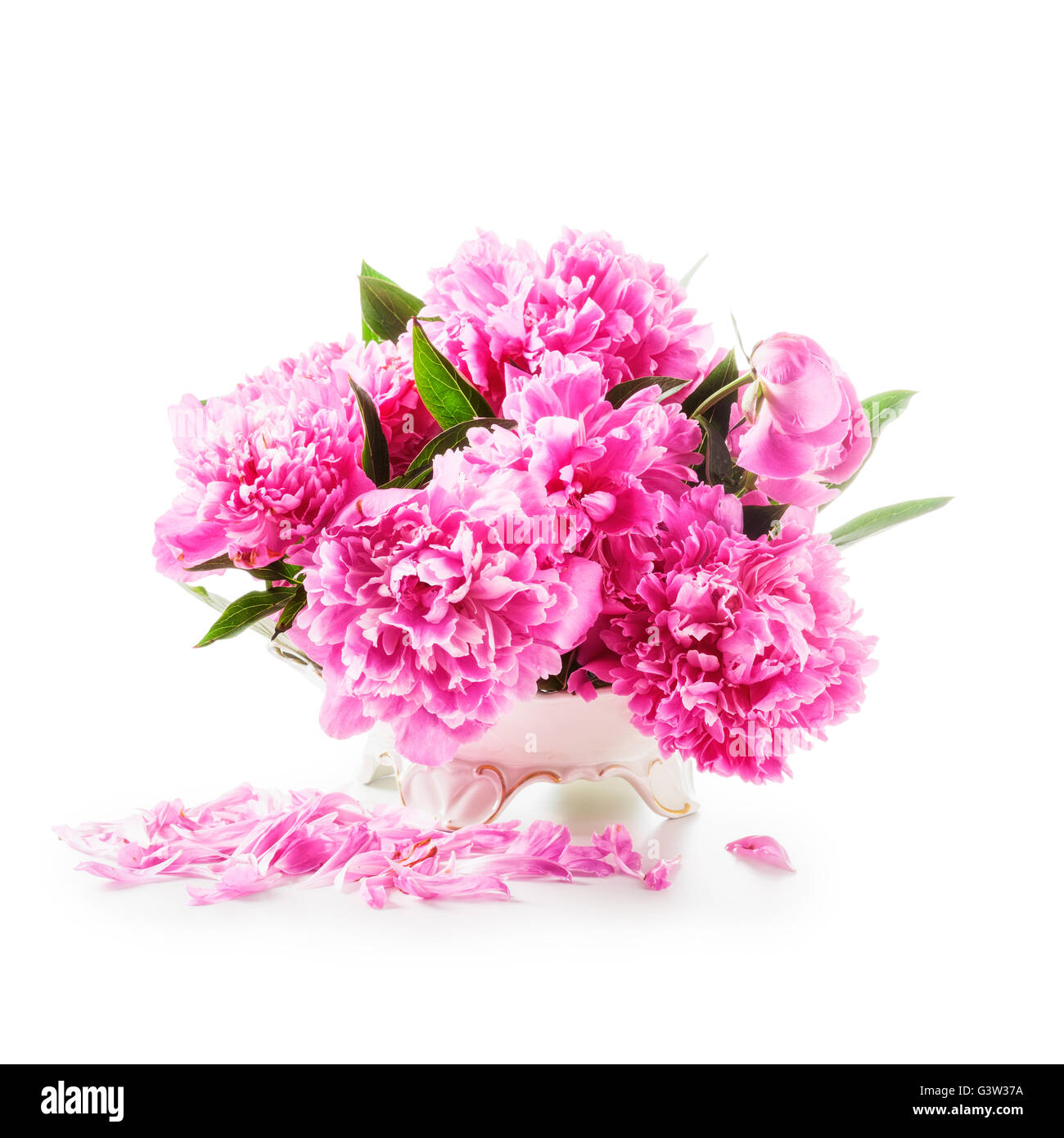Peony flowers romantic bouquet of pink peonies in retro vase peony flowers romantic bouquet of pink peonies in retro vase isolated on white background clipping path included dhlflorist Images