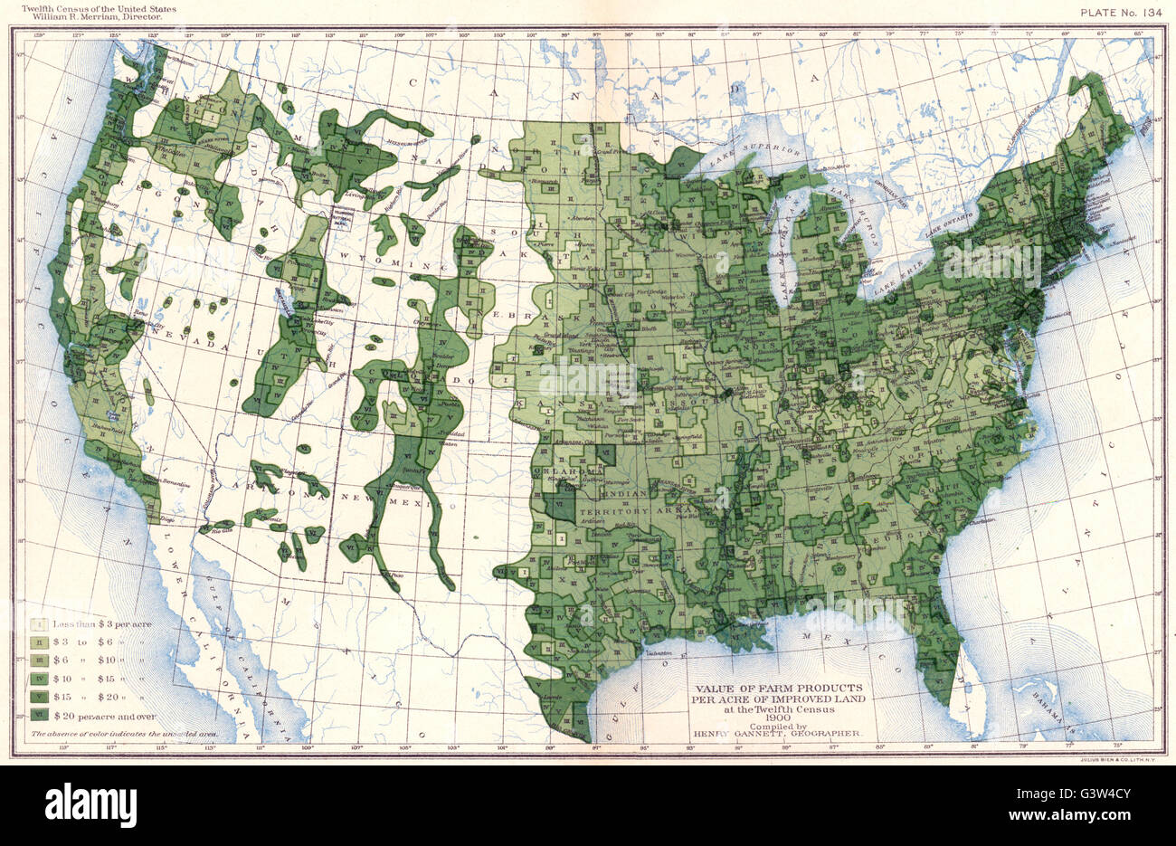 Stock Po Usa Value Of Farm Products Per Acre Improved Land At 12th Census 1900 Map