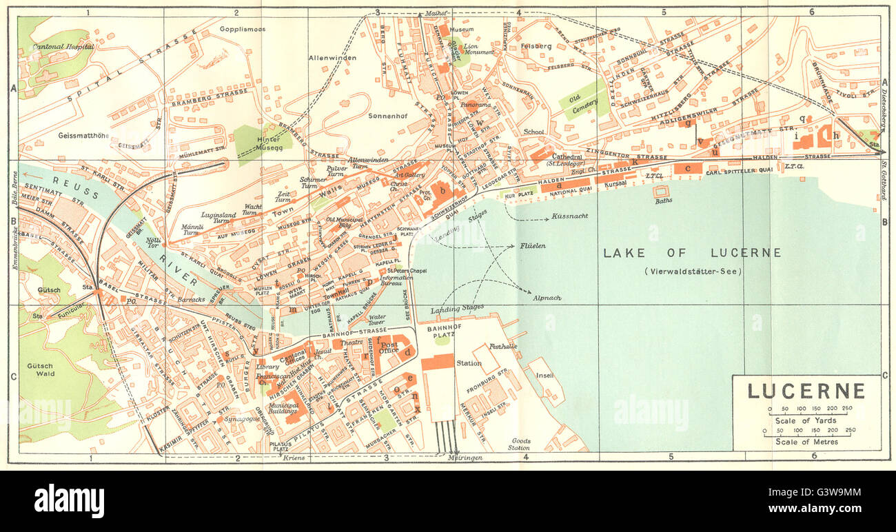 SWITZERLAND Lucerne 1930 vintage map Stock Photo Royalty Free
