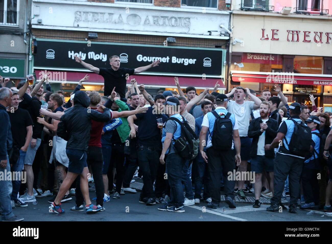 uk police officers take a leading role monitoring england fans in lille city centre france