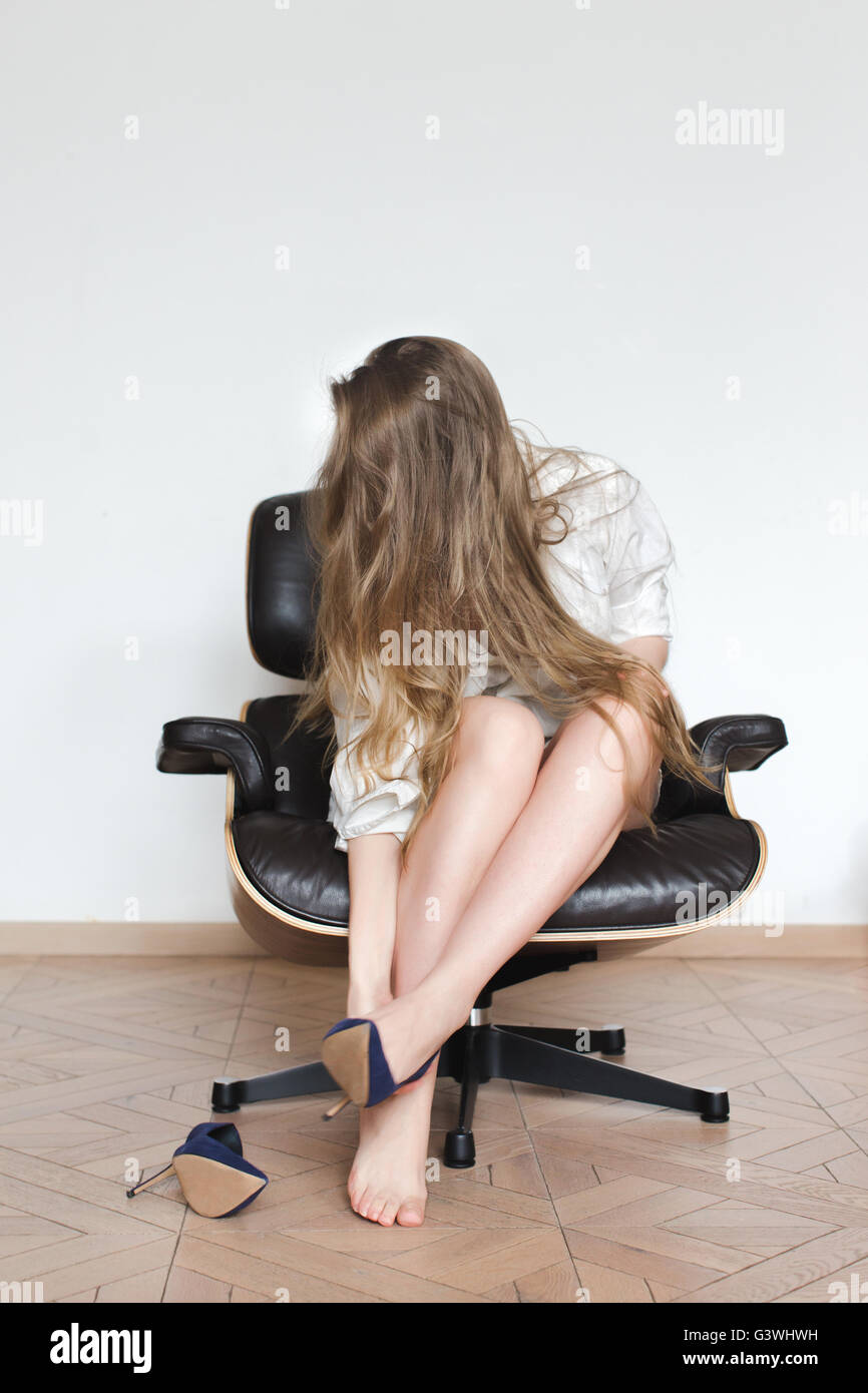 Girl removes boots and shows feet 6