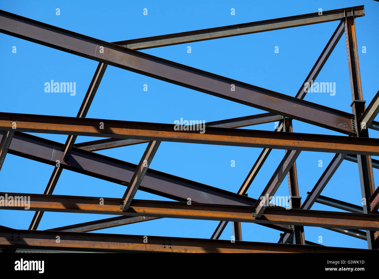 Steel i beam frame of a new building stock photo royalty