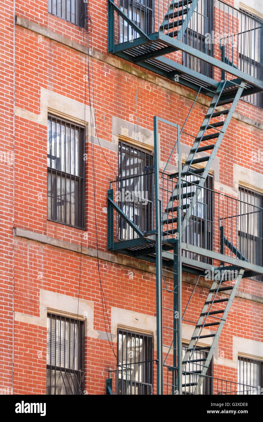 Typical New York Fire Escape Ladders And Balconies Stock