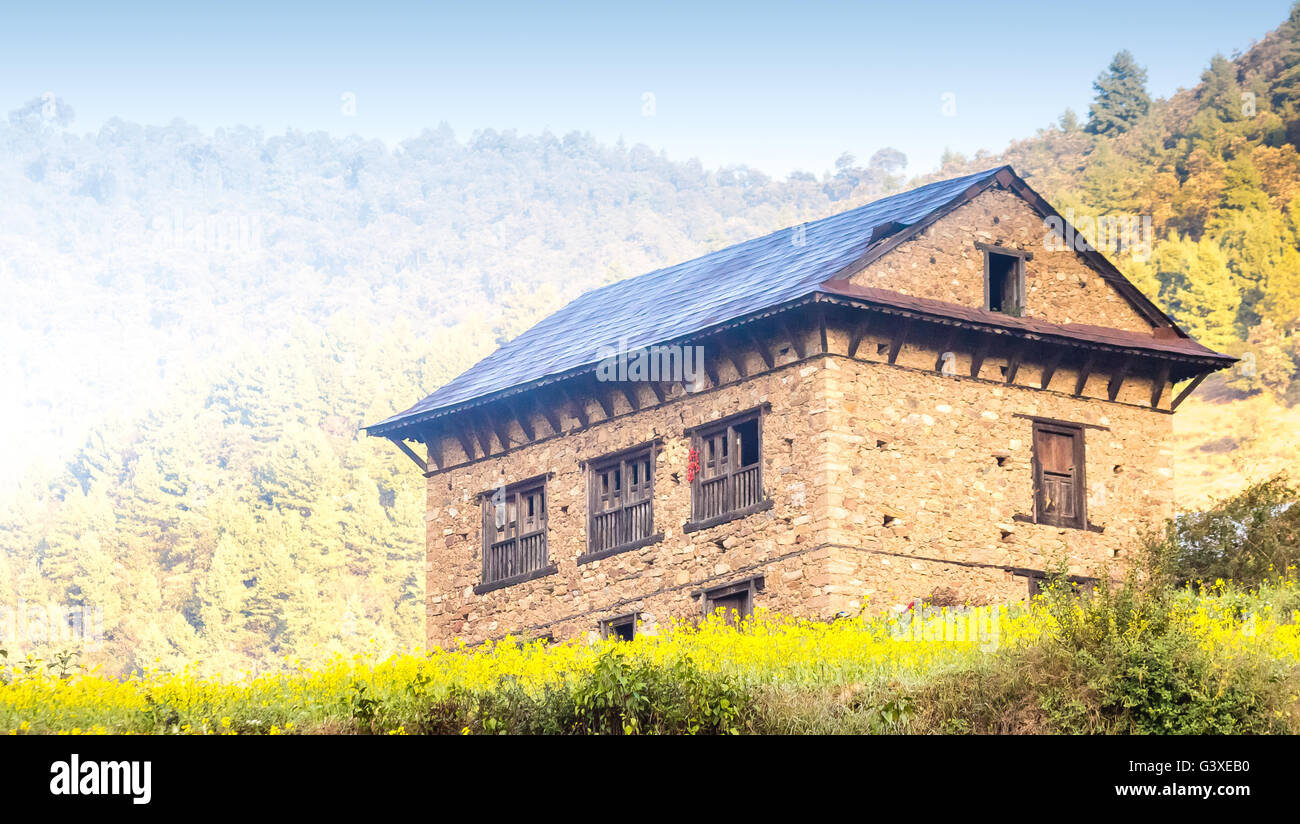 Stock photo traditional style beautiful houses of nepali village near the forest in chitlangnepal