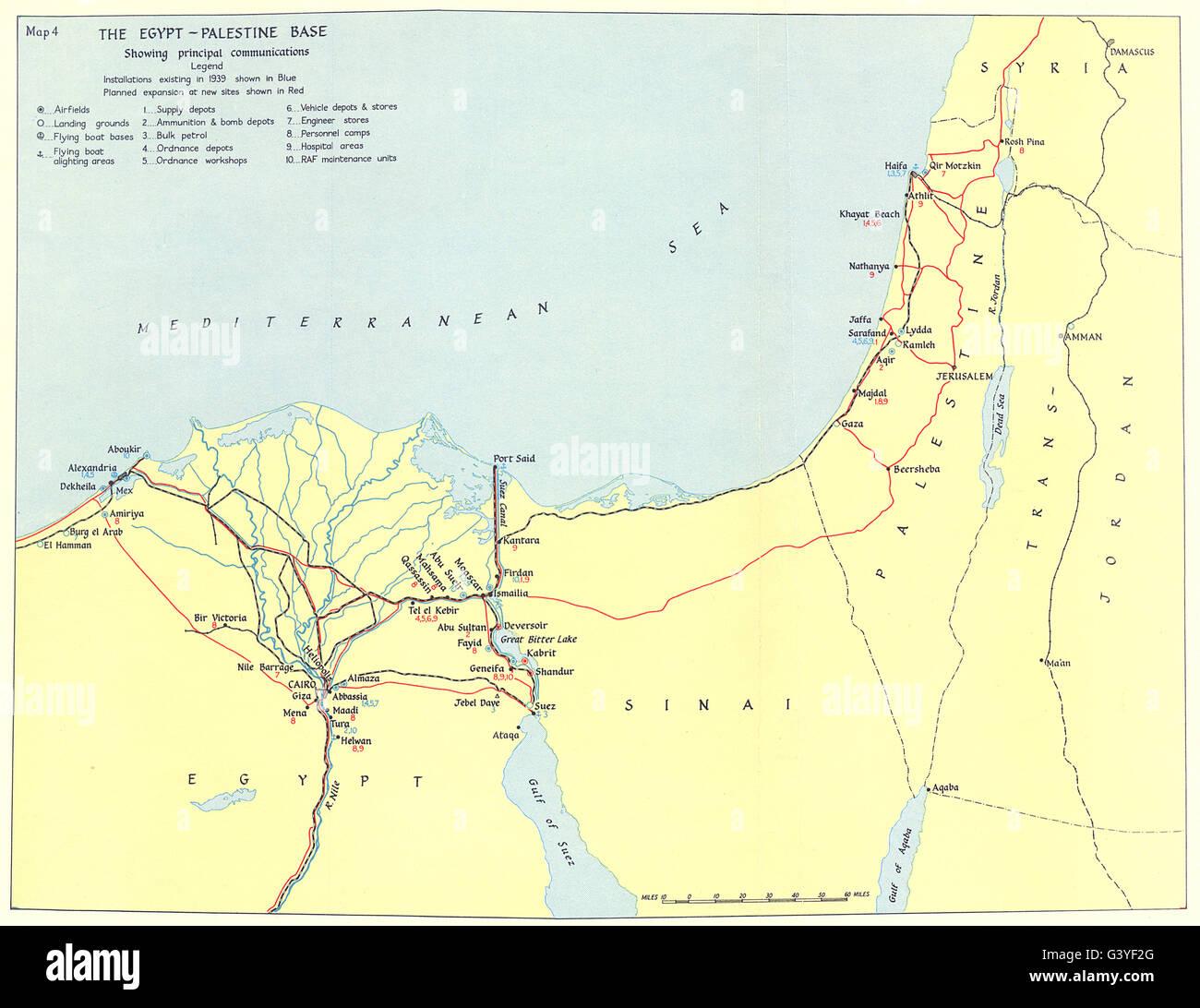 EGYPT Logistics EgyptPalestine Base Communications - Vintage map of egypt