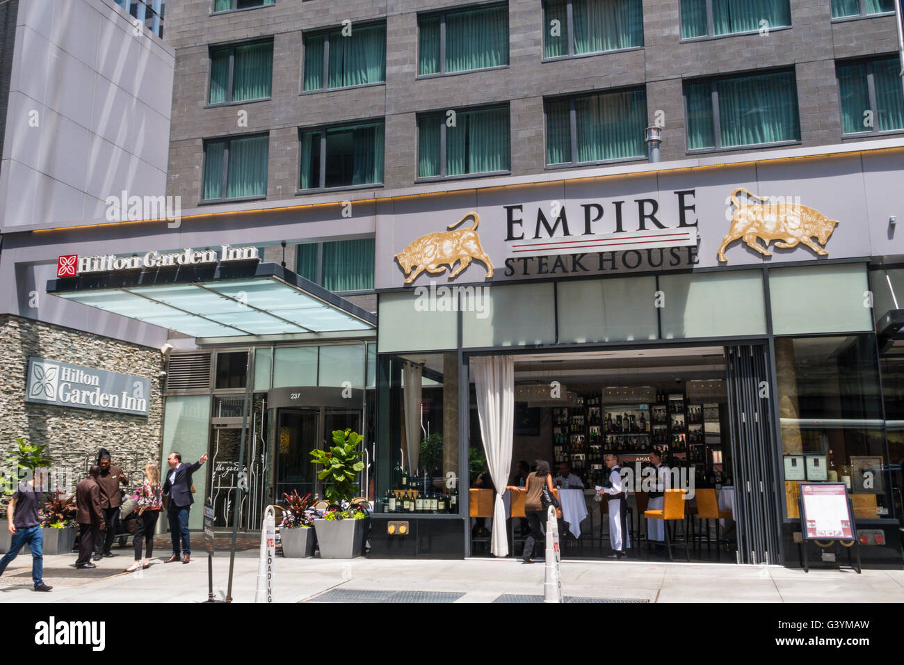 Hilton Garden Inn And Empire Restaurant On West 54th Street Nyc Stock Photo Royalty Free Image