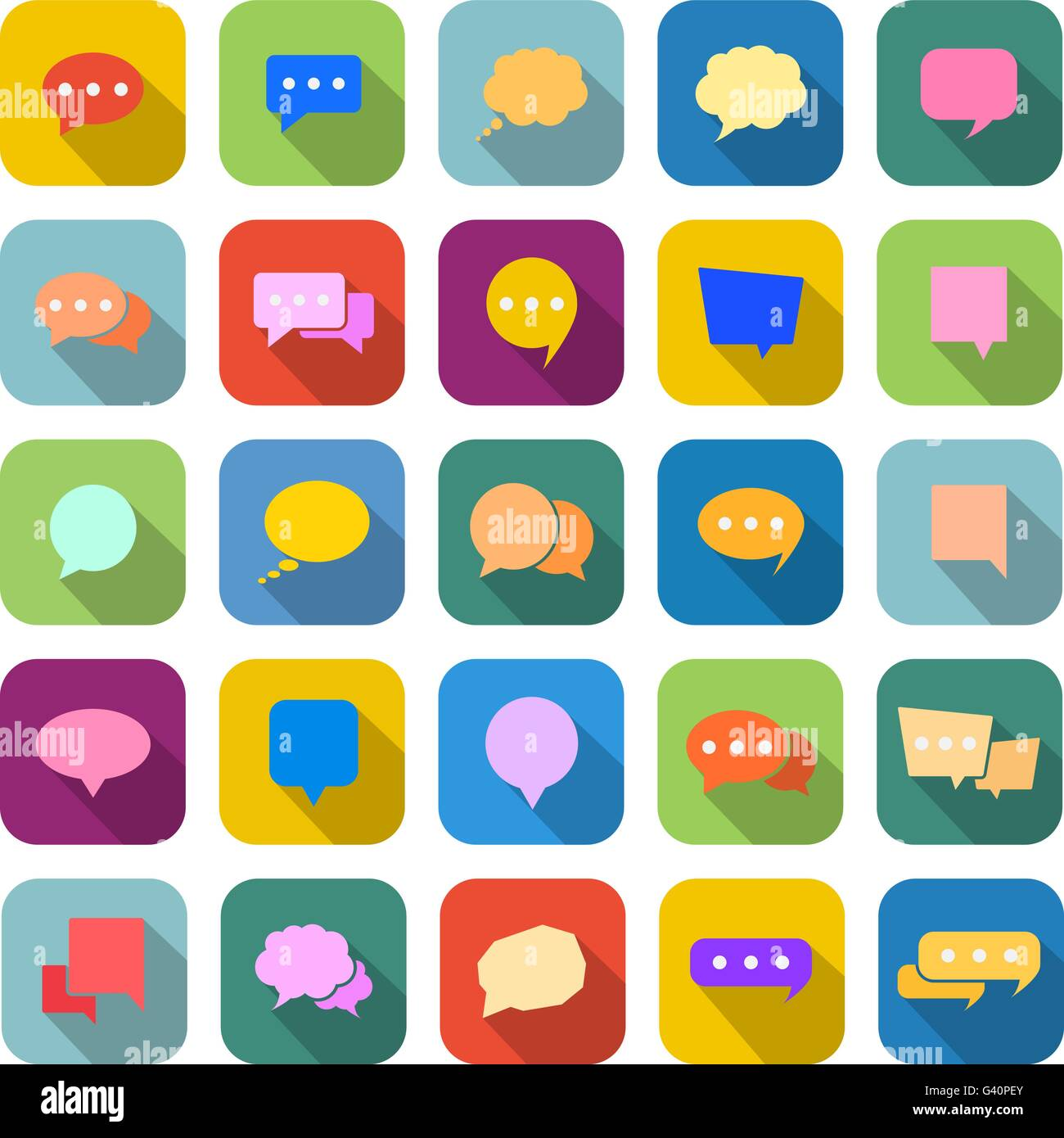 speech bubble color icons with long shadow on white background
