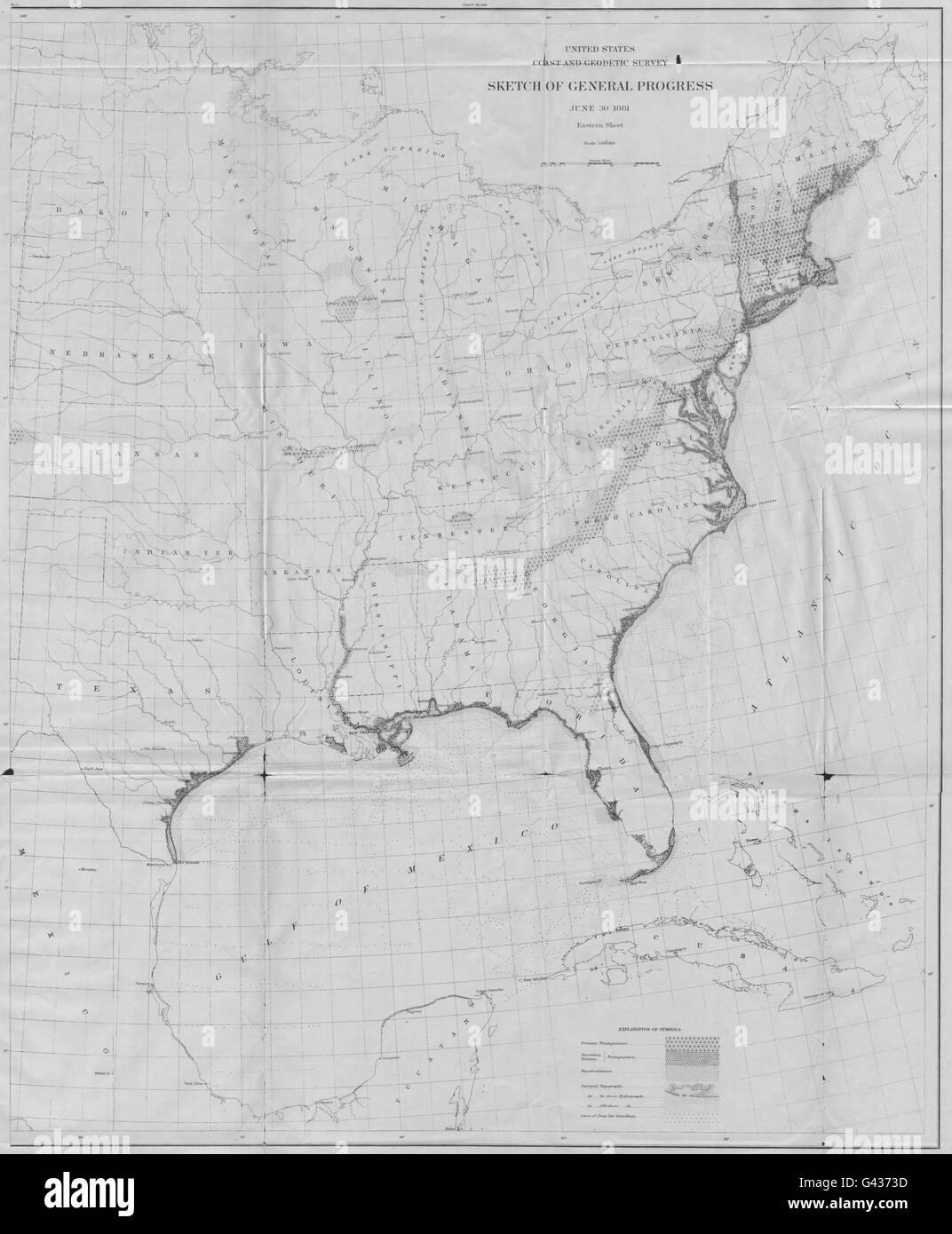 USA USCGS US Coastal Geodetic Survey Eastern Sheet - Us coast and geodetic survey maps
