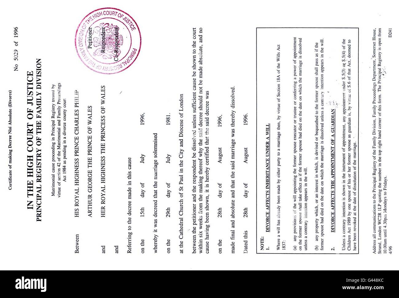 Royal Divorce Decree Absolute  Divorce Decree Sample