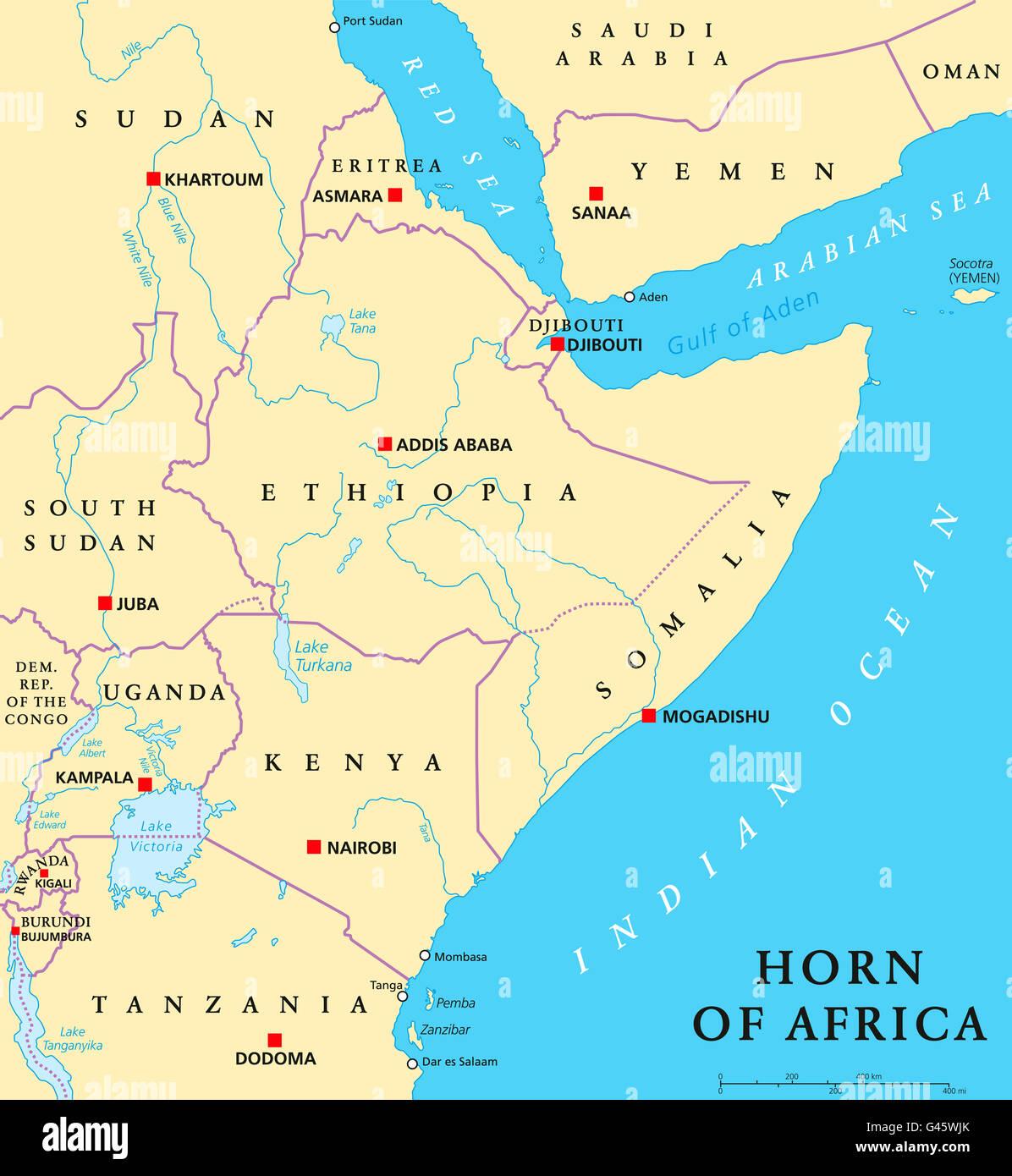 Kenya Political Map Capital Nairobi Stock Photos Kenya Political - Kenya rivers map