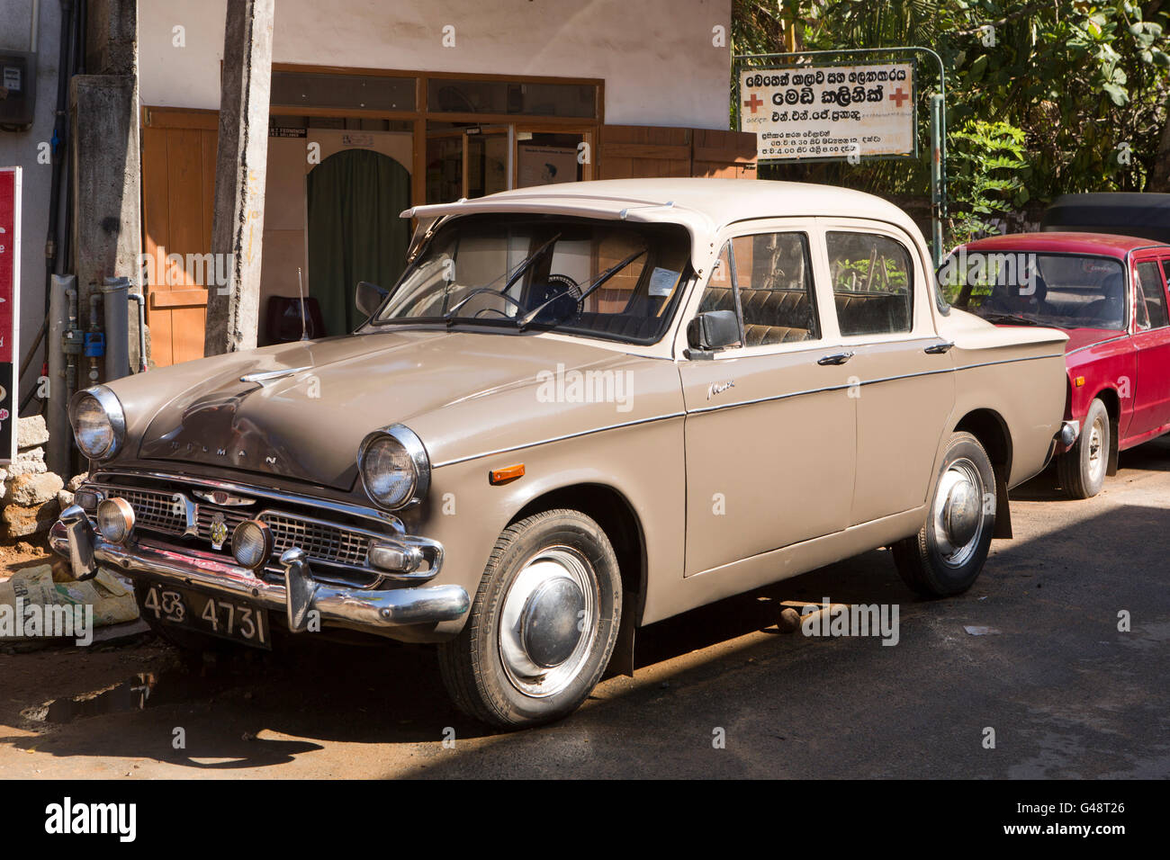 Sri Lanka Mirissa 1960s British Made Hillman Minx Car Stock