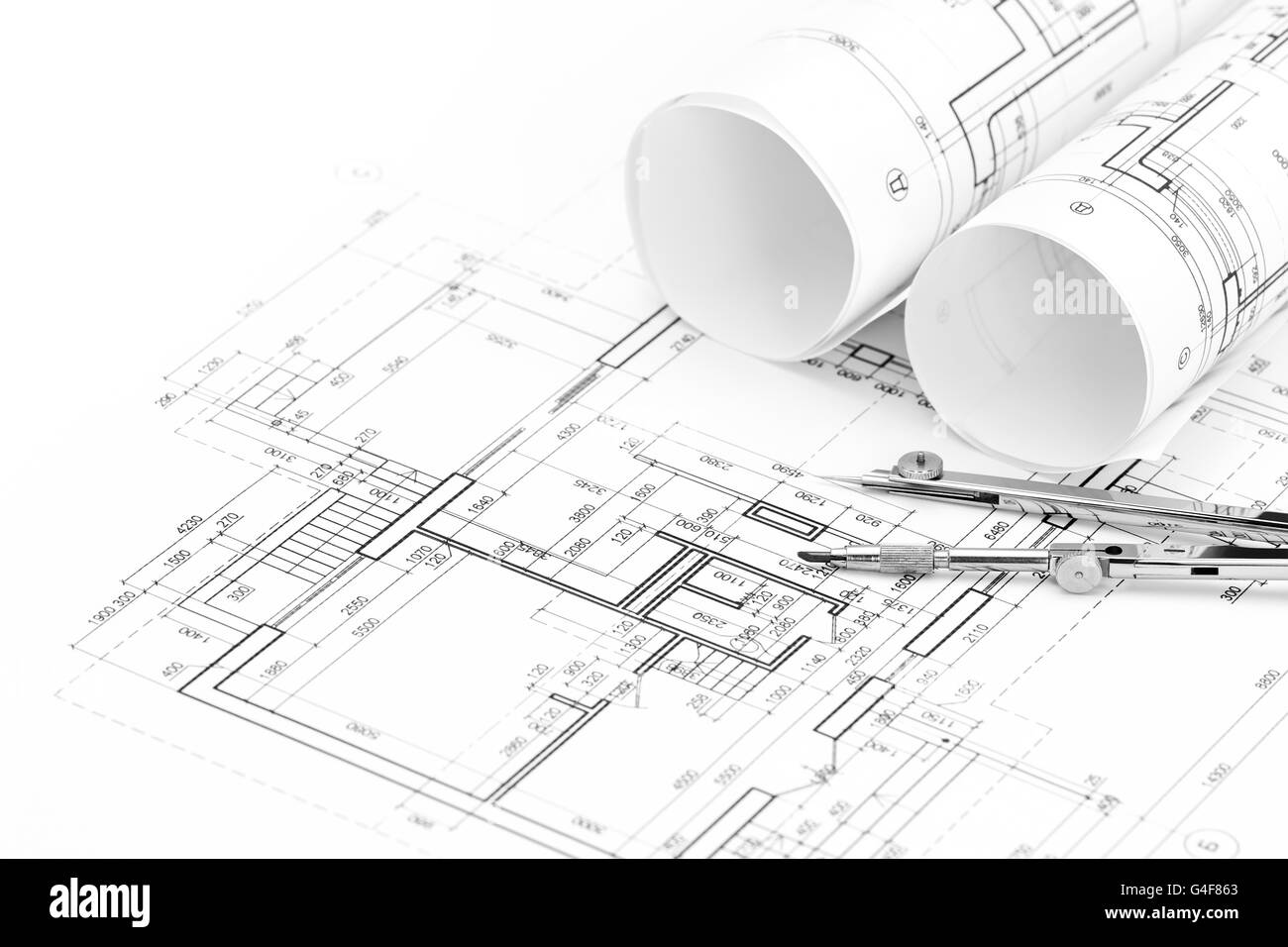 Architectural Drawings With Floor Plan And Drawing Compass