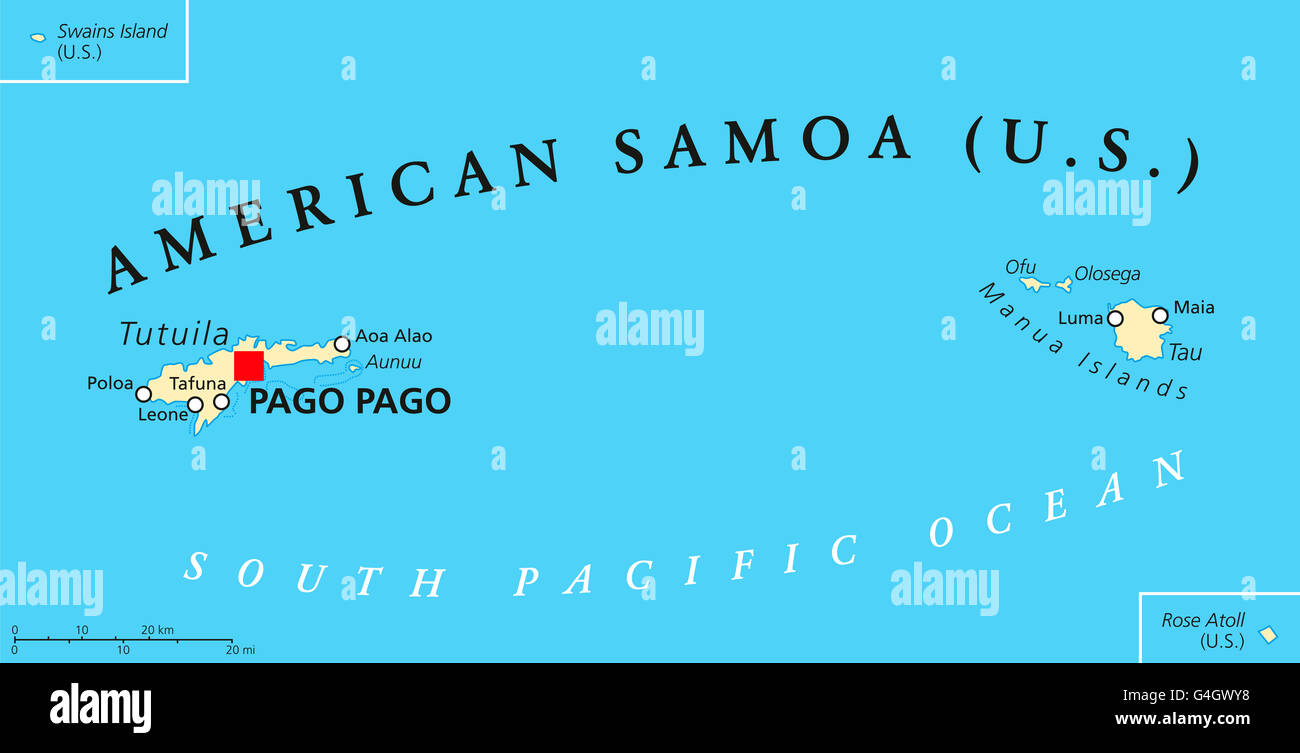American Samoa political map with capital Pago Pago is an United