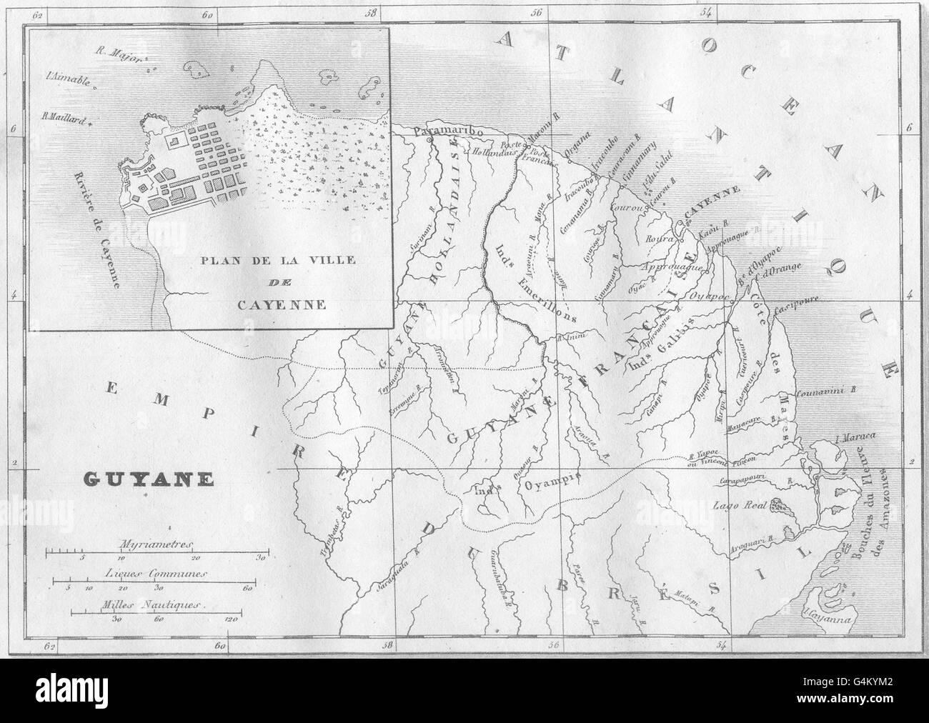 GUYANA Guadeloupe Guyane Inset map of Plan de la Ville de Cayenne