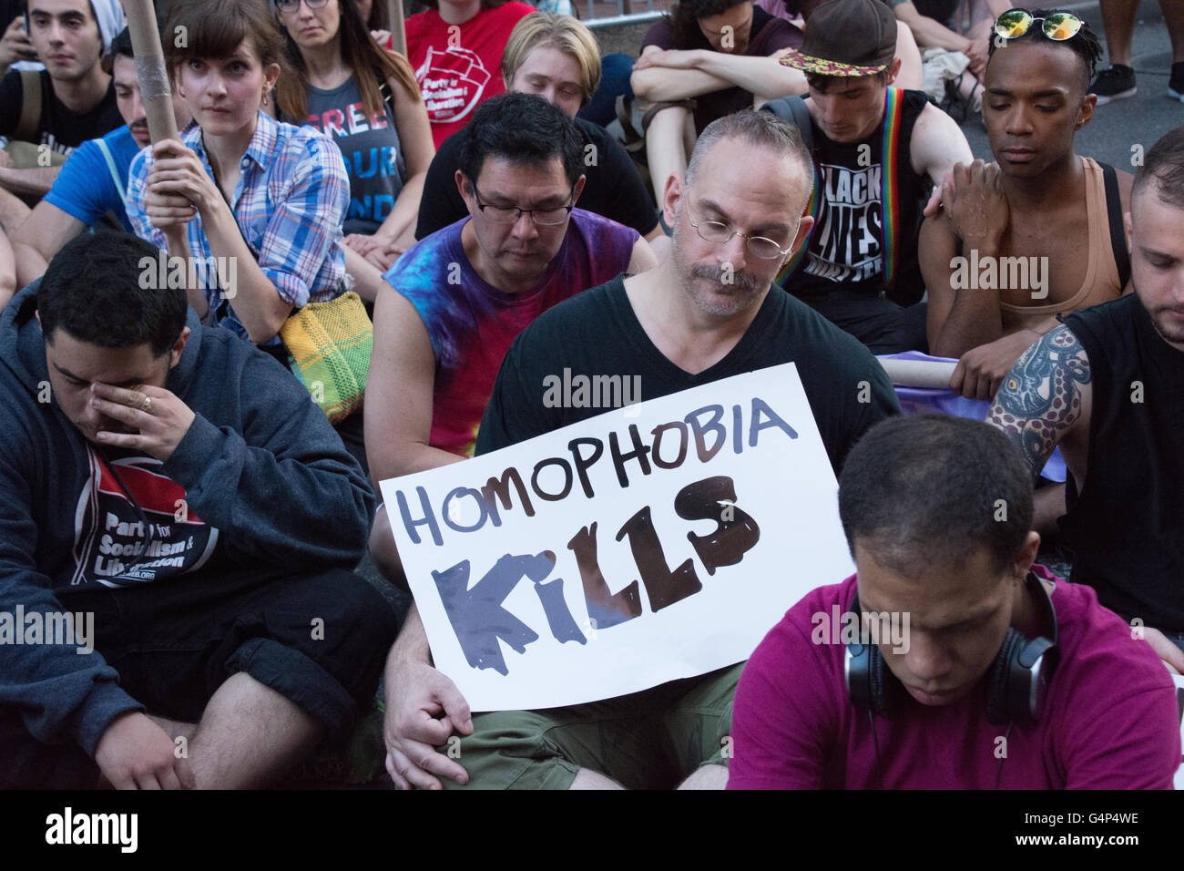 At the fitbit ipo celebration at new york stock exchange on thursday - New York Usa 18th June 2016 Emotional Moments As Demonstrators Commemorate The Orlando