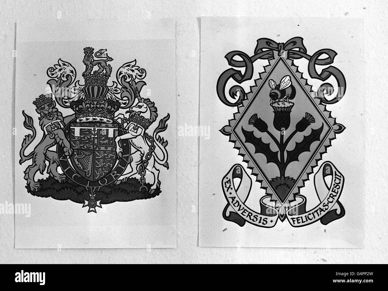 Pa news photo 6586 the coat of arms of prince andrew left and pa news photo 6586 the coat of arms of prince andrew left and the new busy bee lozenge of arms for his bride to be sarah ferguson biocorpaavc