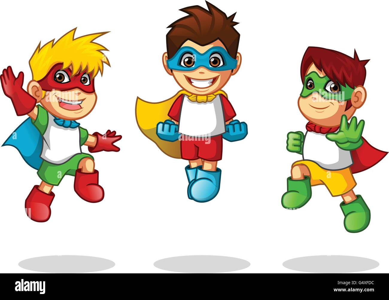 Super 4 Cartoon Characters : Kid super heroes with jumping flying pose cartoon