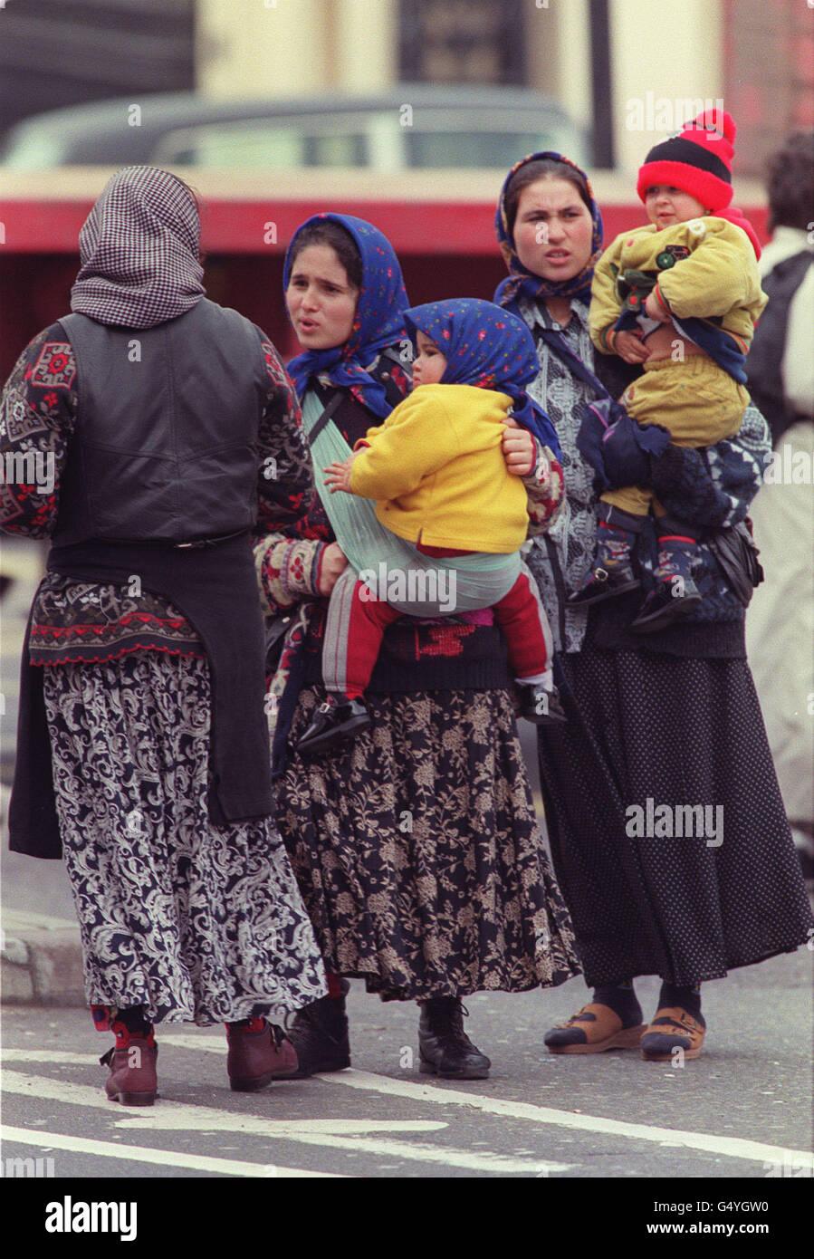 Romanian women in London Stock Photo, Royalty Free Image