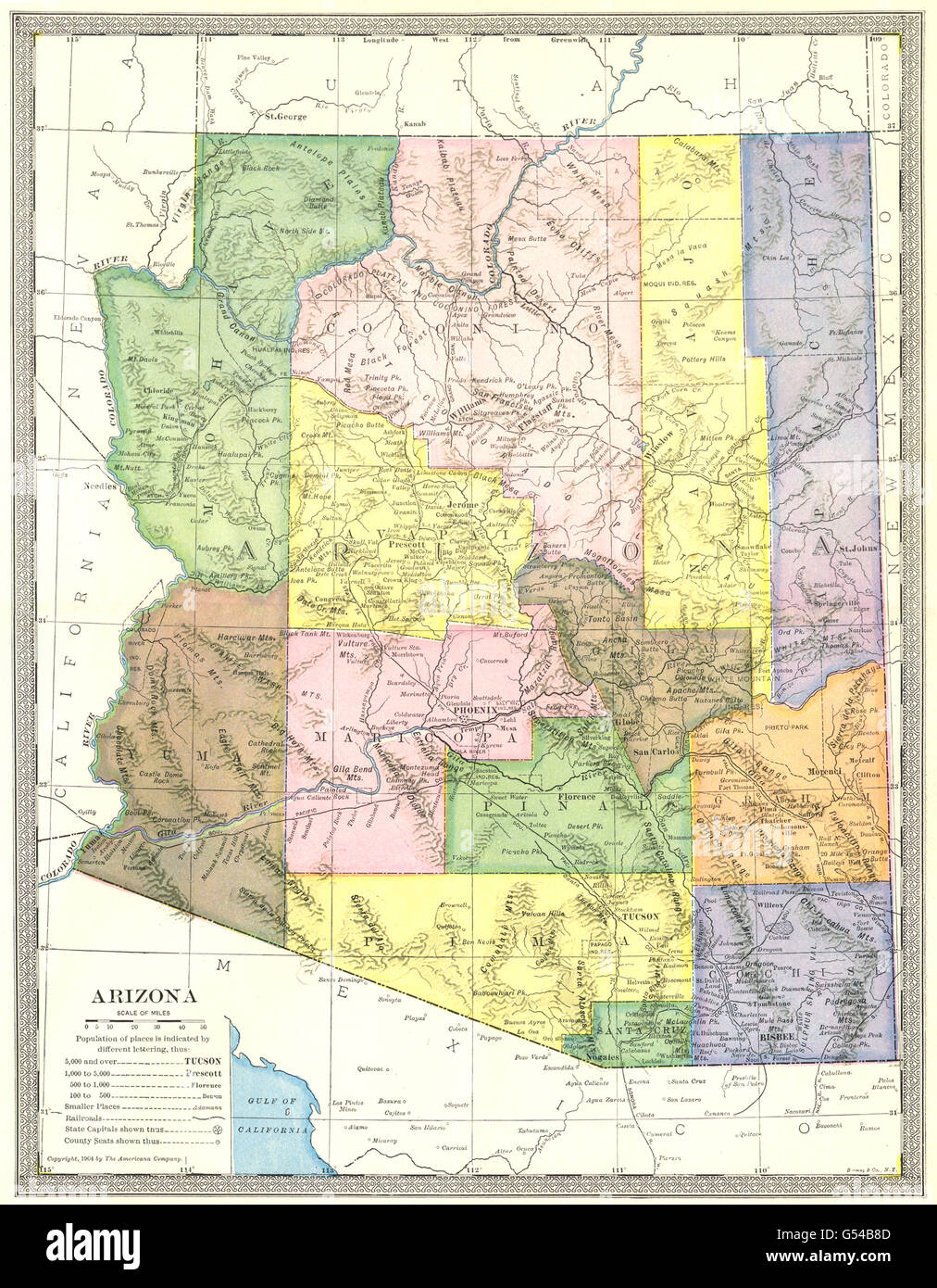 ARIZONA State Map Counties Stock Photo Royalty Free Image - Arizona state map