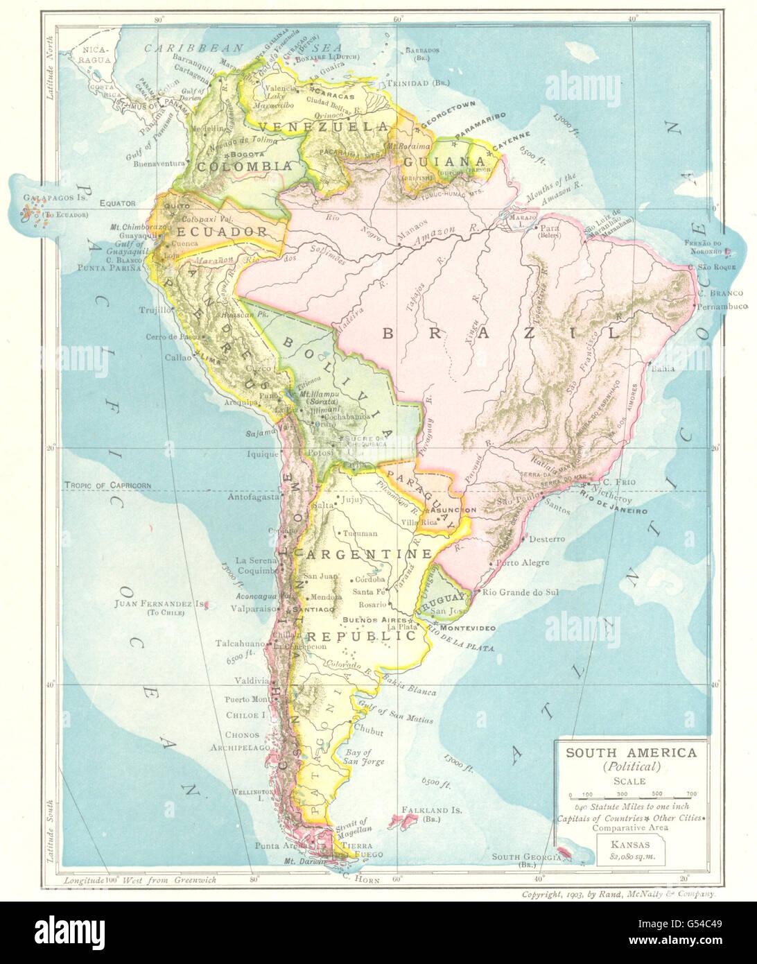 South America Political Guiana Brazil Bolivia Argentine