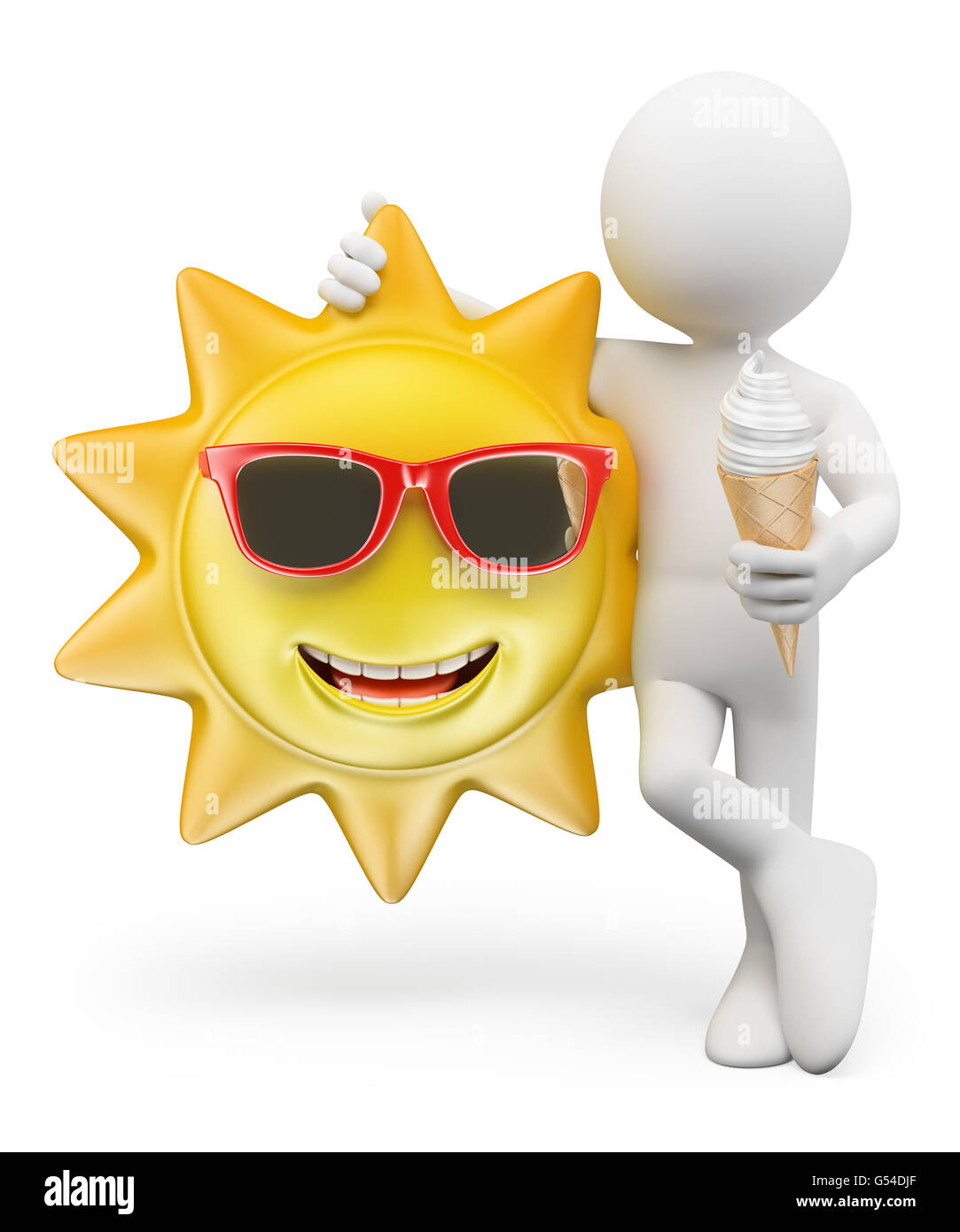 Smiling sun images - 3d White People Summer Ice Cream Smiling Sun Isolated White Background