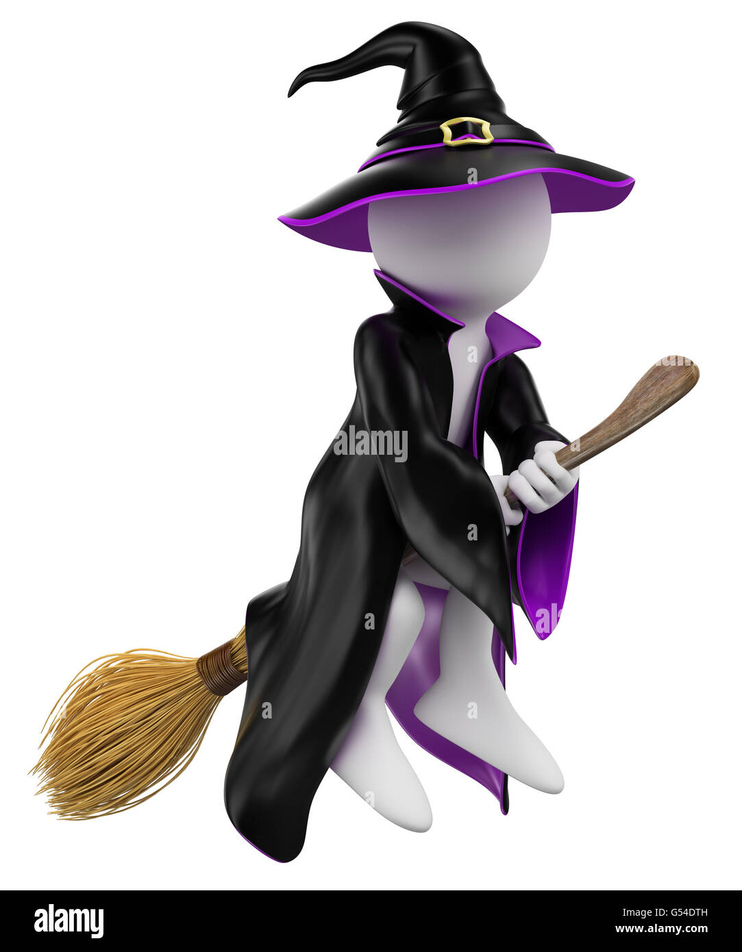 halloween witch flying on her broomstick isolated white background - Flying Halloween Witch