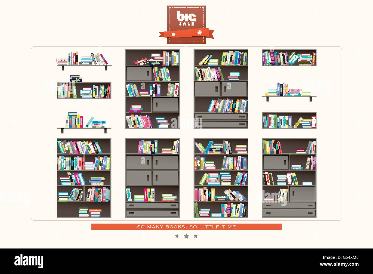Interior wooden shelves free vector - Stock Vector Set Of Modern Interior Shelf And Books Icons On White Background Vector Wooden Furniture And Colorful Books Collection Educati
