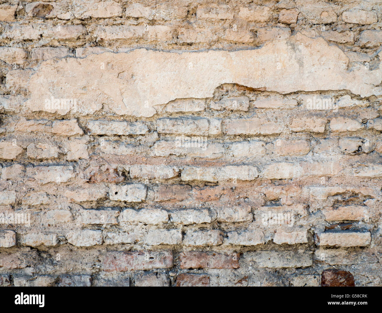 Old Damaged Rustic Brick Wall With Plaster Texture