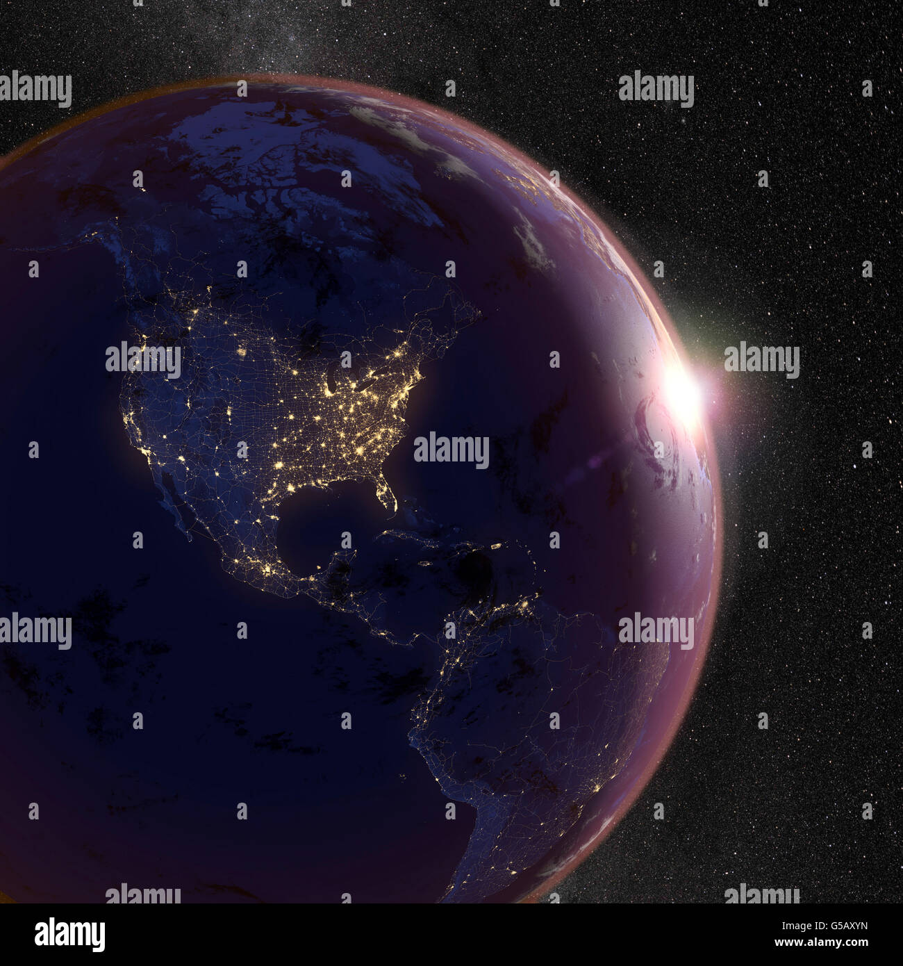 Planet Earth Night Sky And City Lights Of North And South - Earth at night map