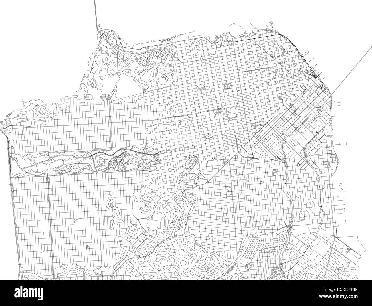 Map Of San Francisco Satellite View Streets And Highways US - San francisco on the us map