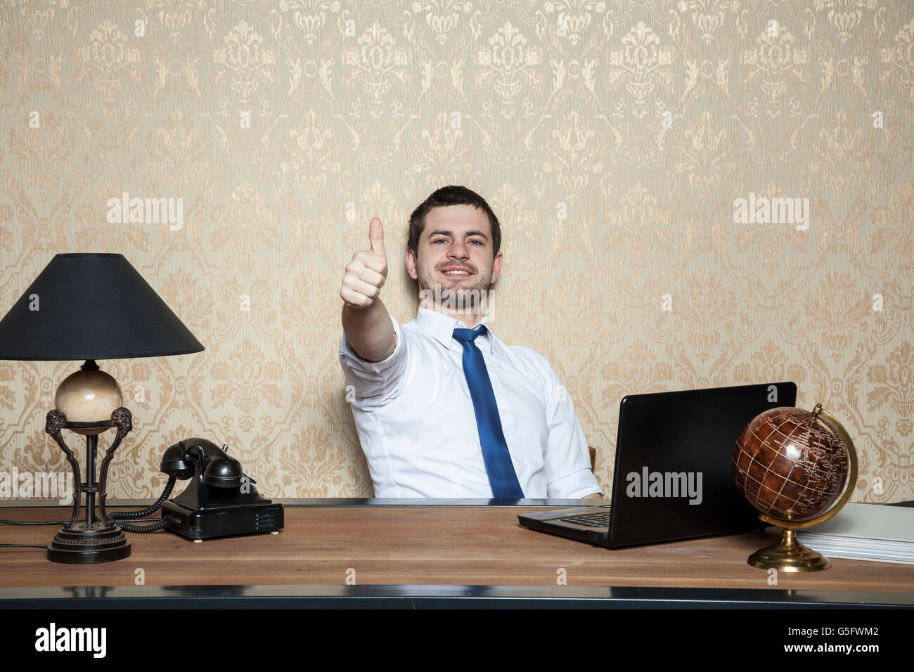 happy businessman is a good employee stock photo royalty stock photo happy businessman is a good employee