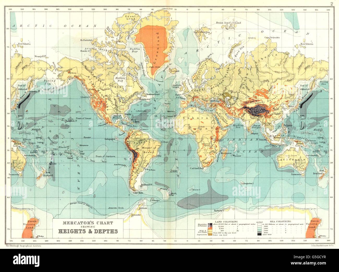 WORLD Mercators Chart Showing Heights Depths Antique Map - Map showing ocean depths
