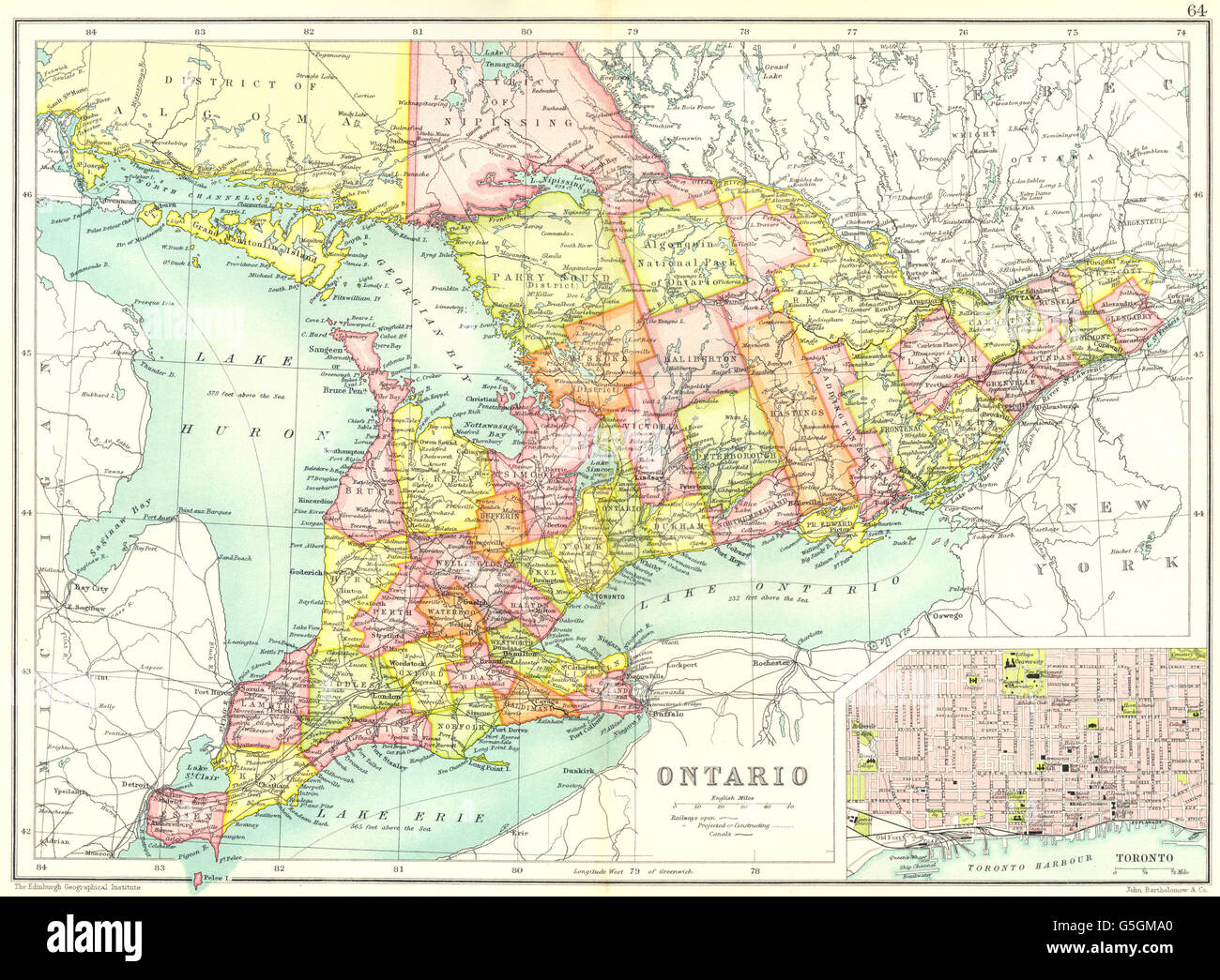 ONTARIO Showing Counties Inset Map Of Toronto Canada Cassells - Toronto canada map