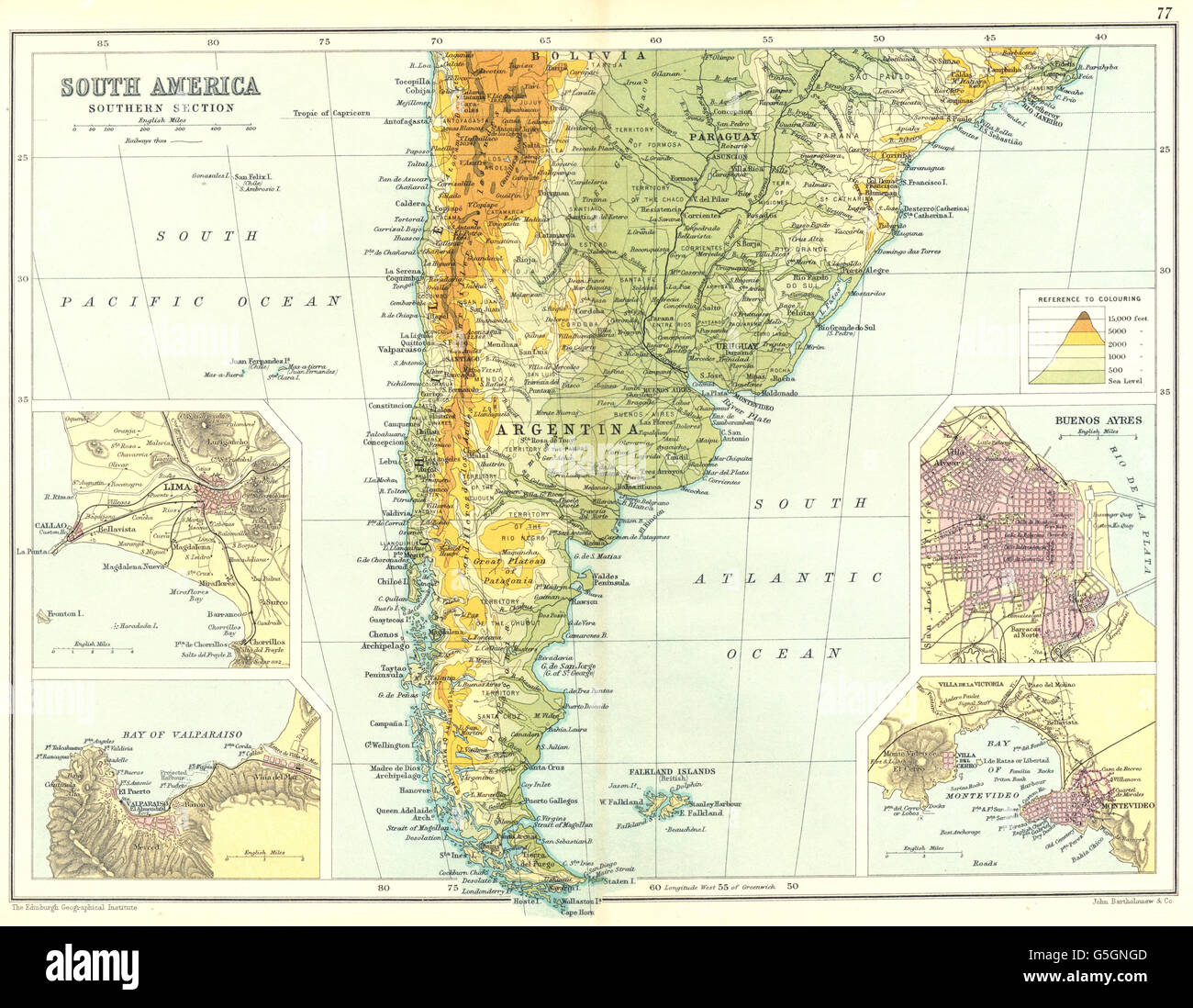 ARGENTINA CHILE URUGUAY Inset Lima Valparaiso Buenos Aires Stock - Argentina chile map