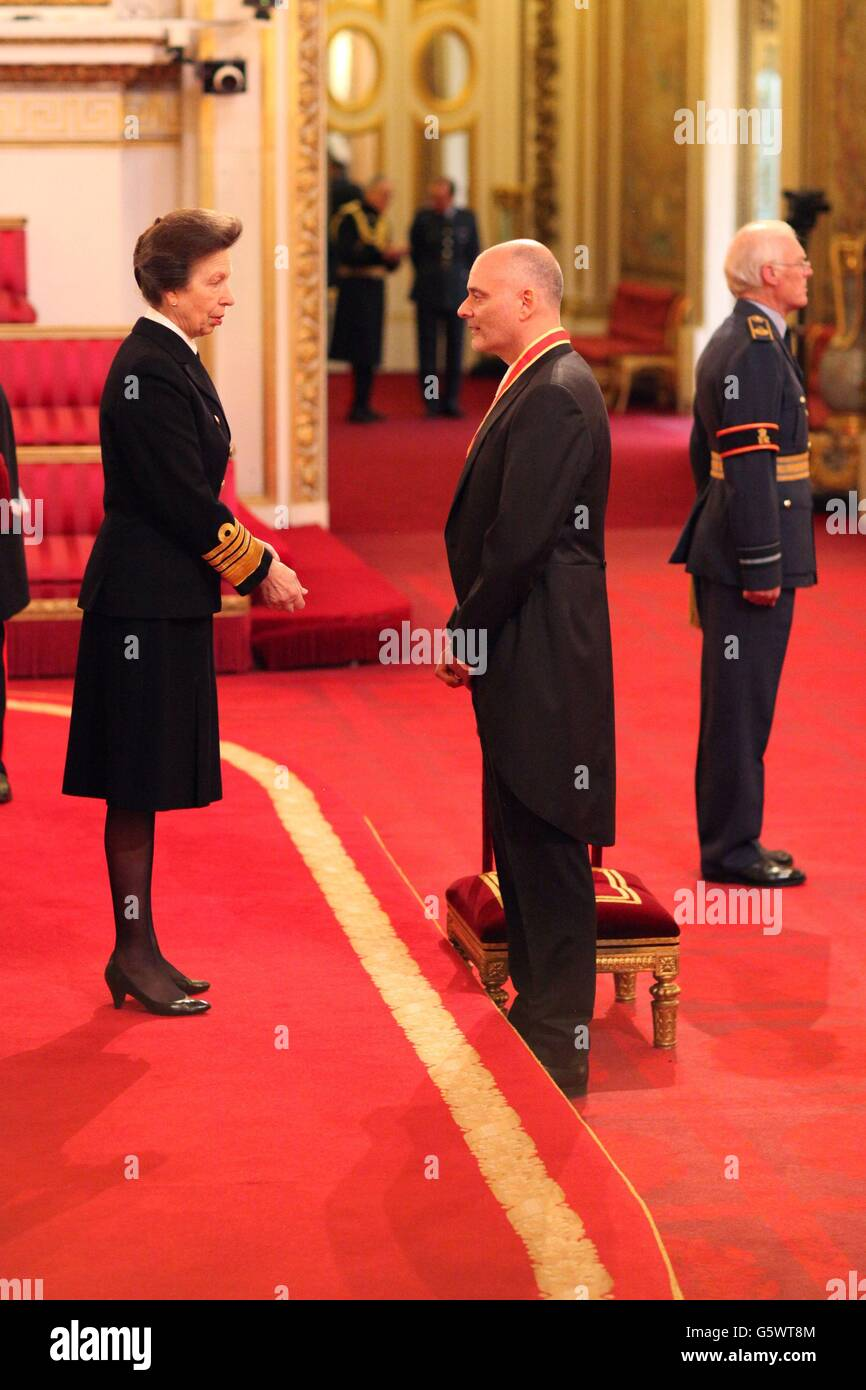 Sir Michael Jacobs is made a Knight Bachelor by the Princess Royal during an investiture ceremony at Buckingham Palace, London.