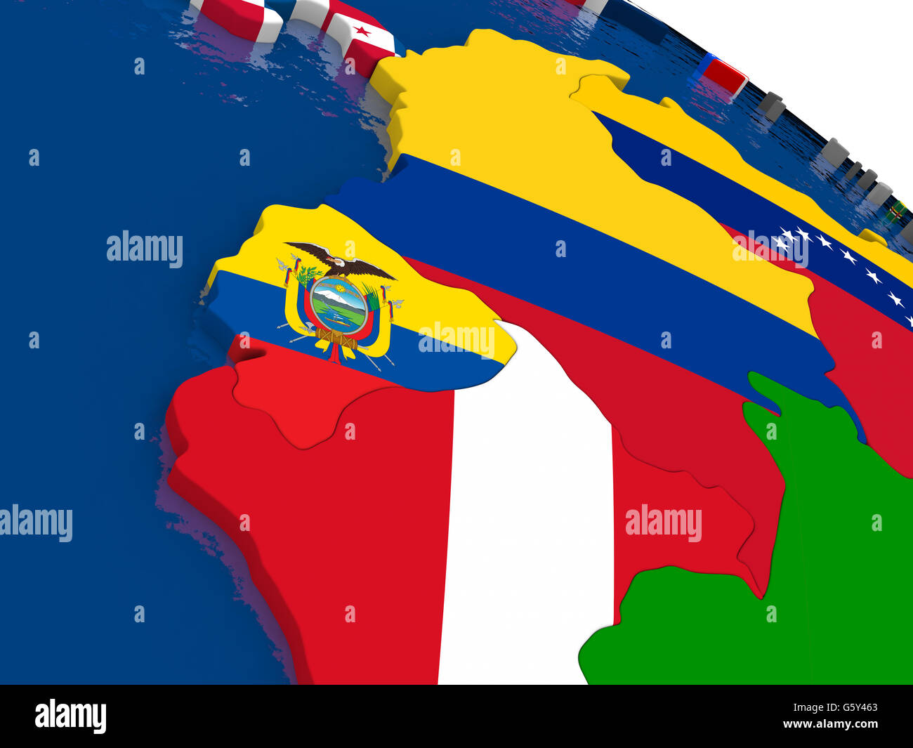 Map of Ecuador with embedded flags on 3D political map Accurate