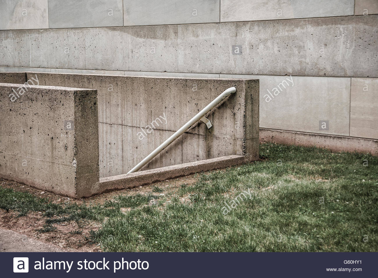 Basement Entrance To A Concrete Building Stock Photo