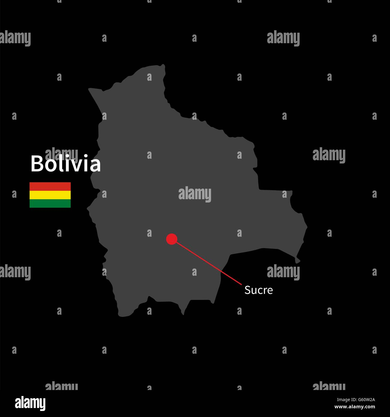 Detailed map of Bolivia and capital city Sucre with flag on black