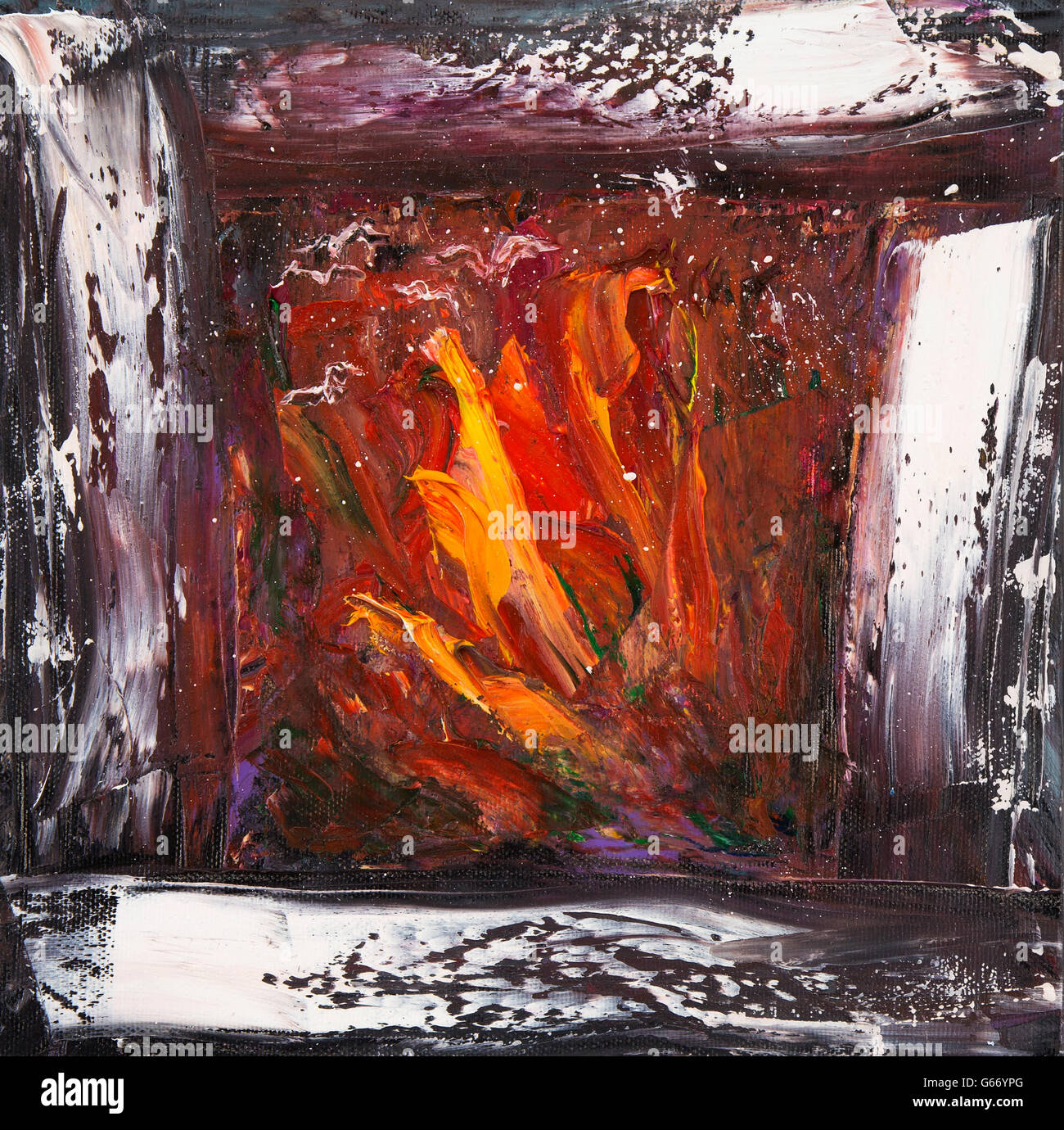 original abstract oil painting showing warm and cosy fireplace