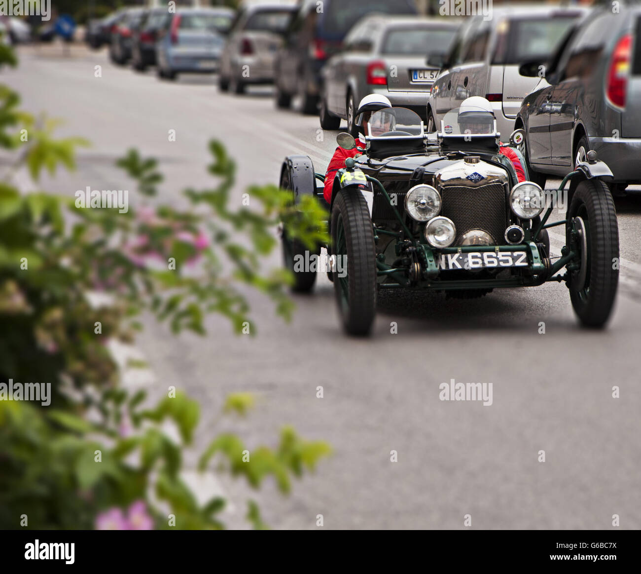 FANO, ITALY - MAY 16: unidentified crew on an old racing car in ...
