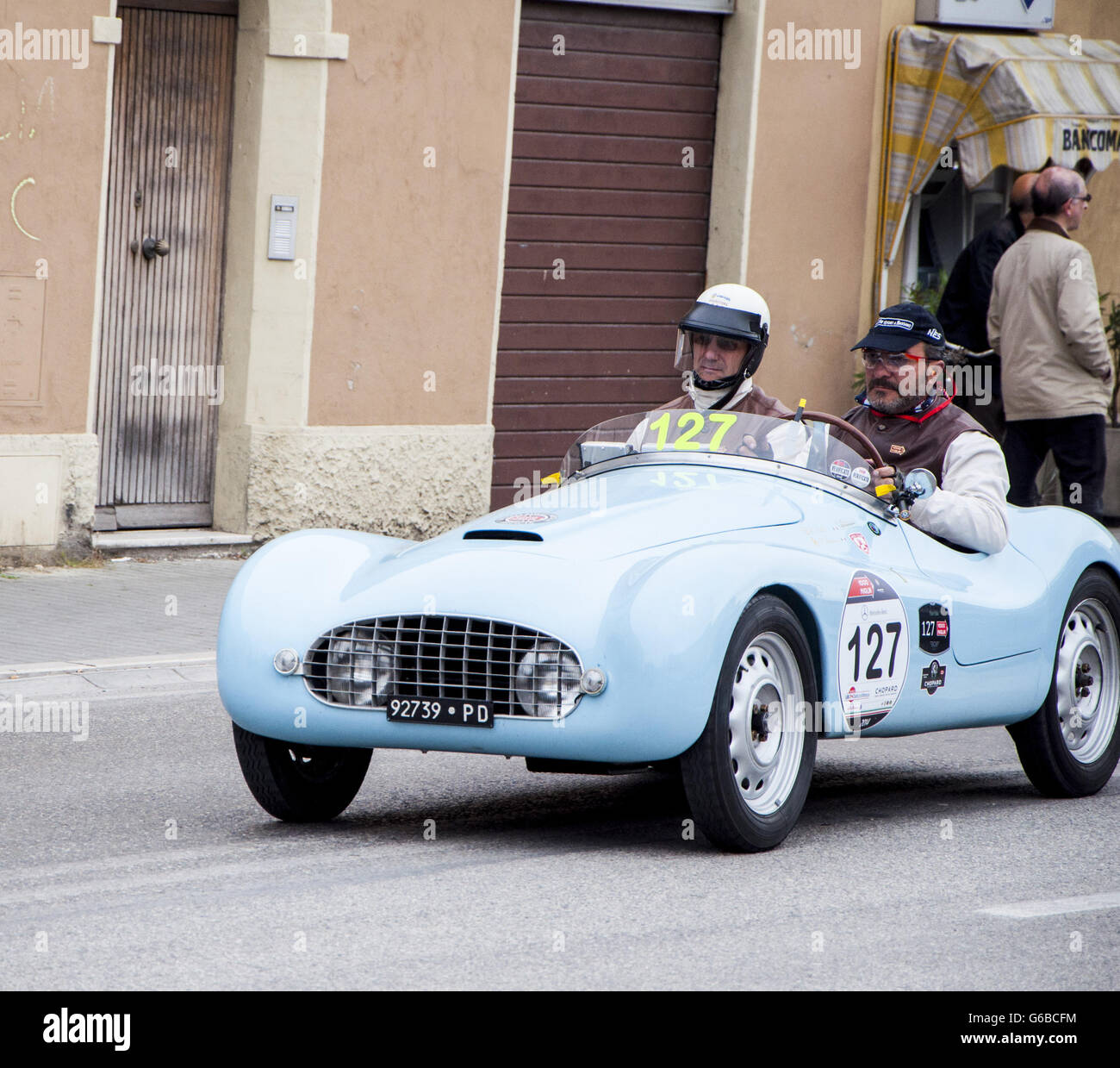 FANO, ITALY - MAY 16: FIAT 500 A Sport old racing car in rally Mille ...